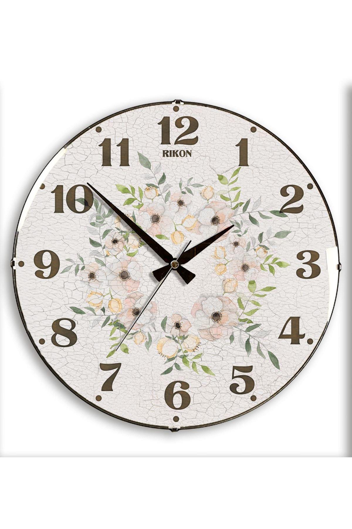 Rikon Dekoratif Bombe Camlı Duvar Saati Çatlak Çiçekli  35X35 Cm