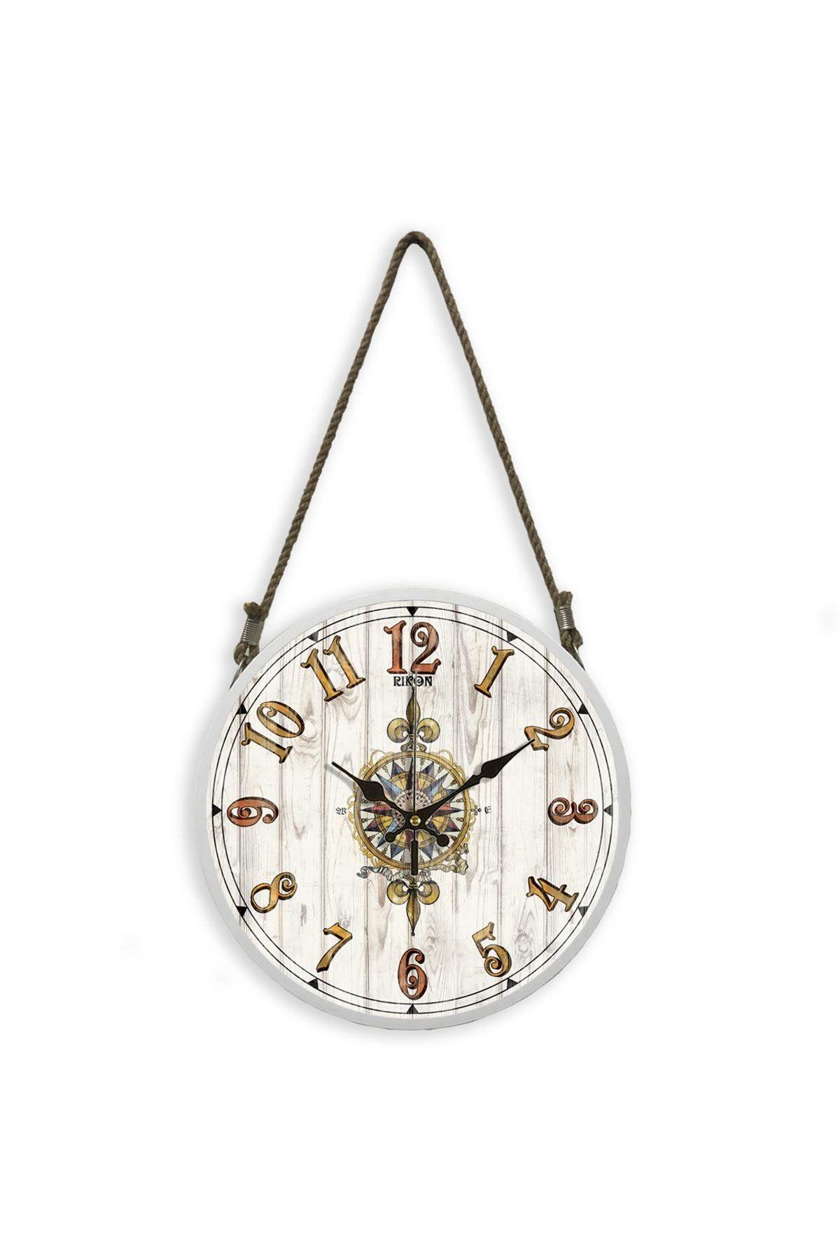 Rikon Halatlı Dekoratif Duvar Saati White Compass 60X31 Cm