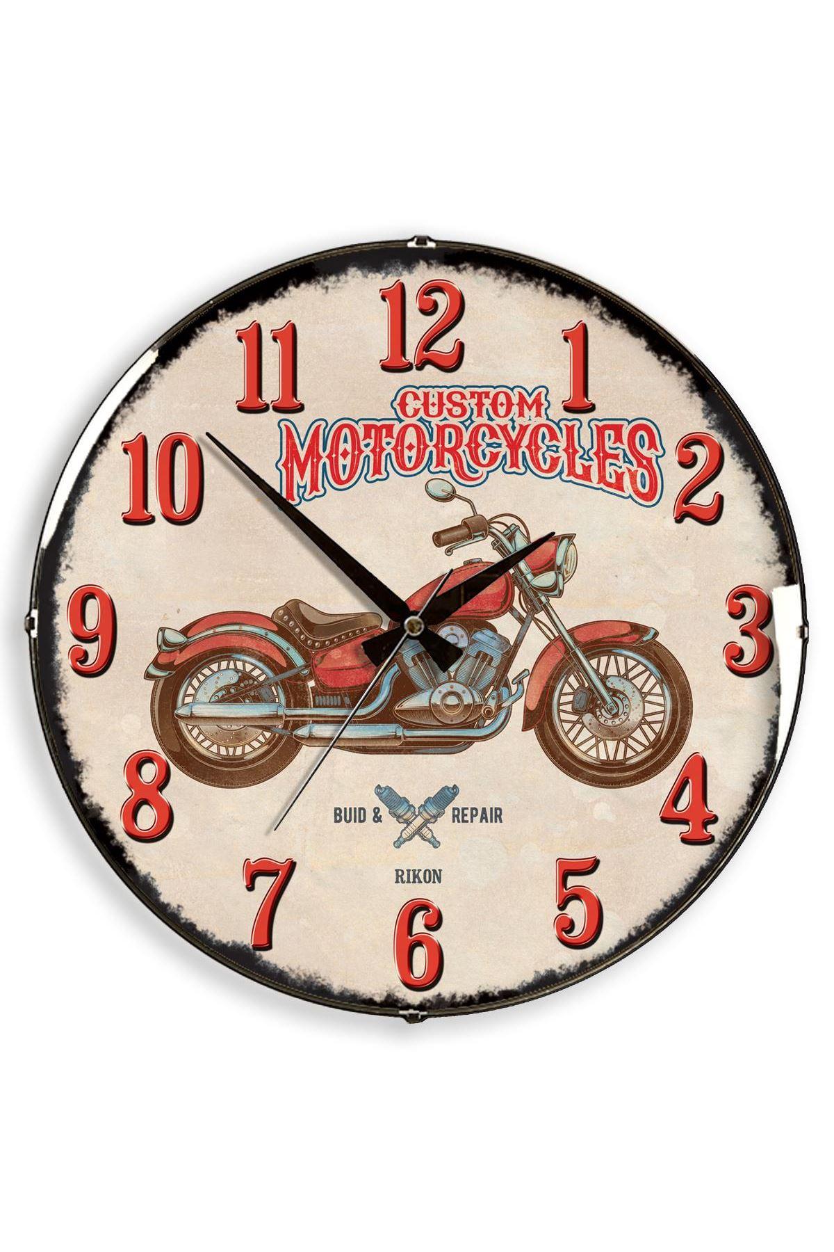 Rikon Red Motorcycle Dekoratif Bombe Camlı Duvar Saati 35X35 Cm