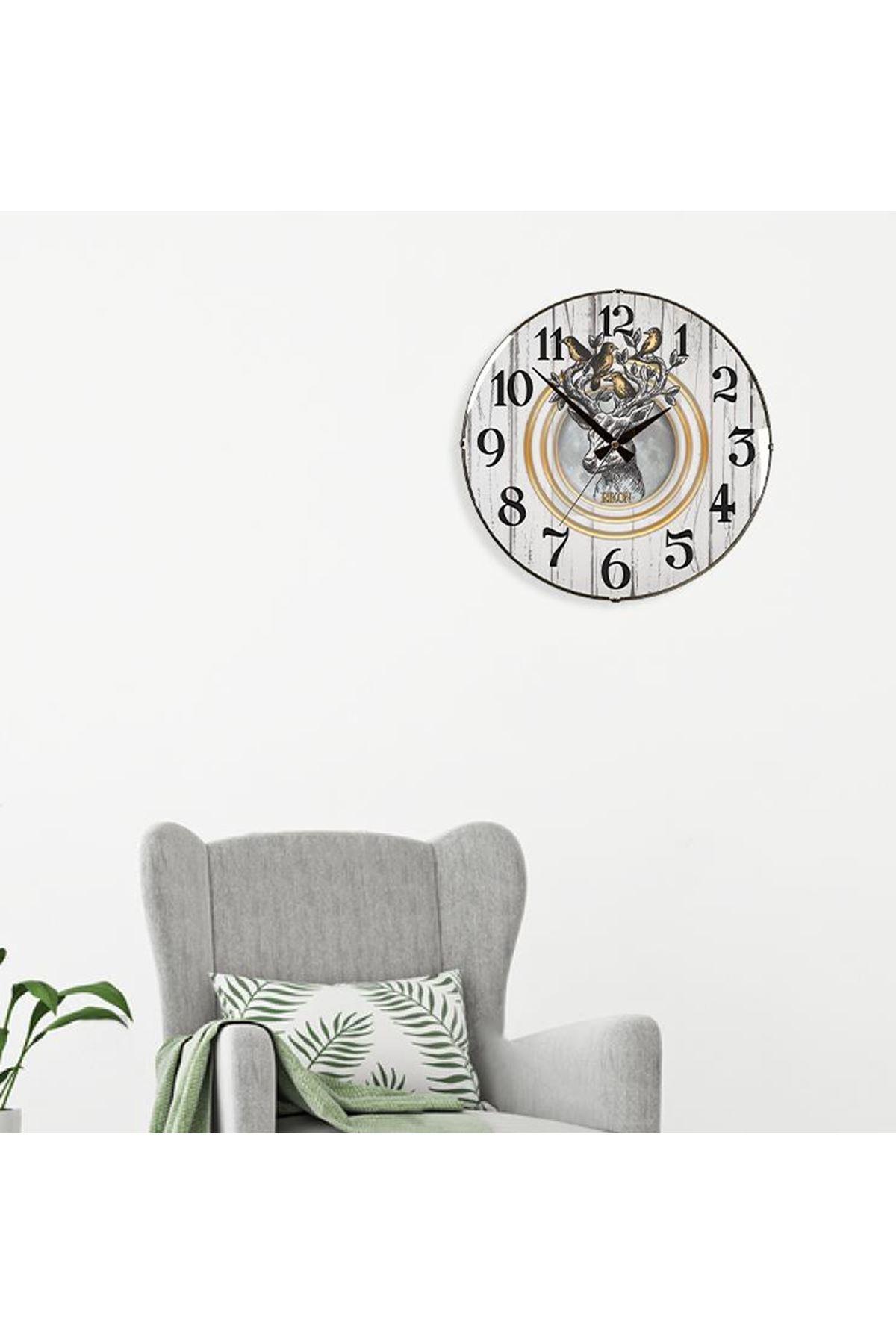 Rikon Dekoratif Bombe Camlı Duvar Saati Boynuzlu Geyik  35X35 Cm