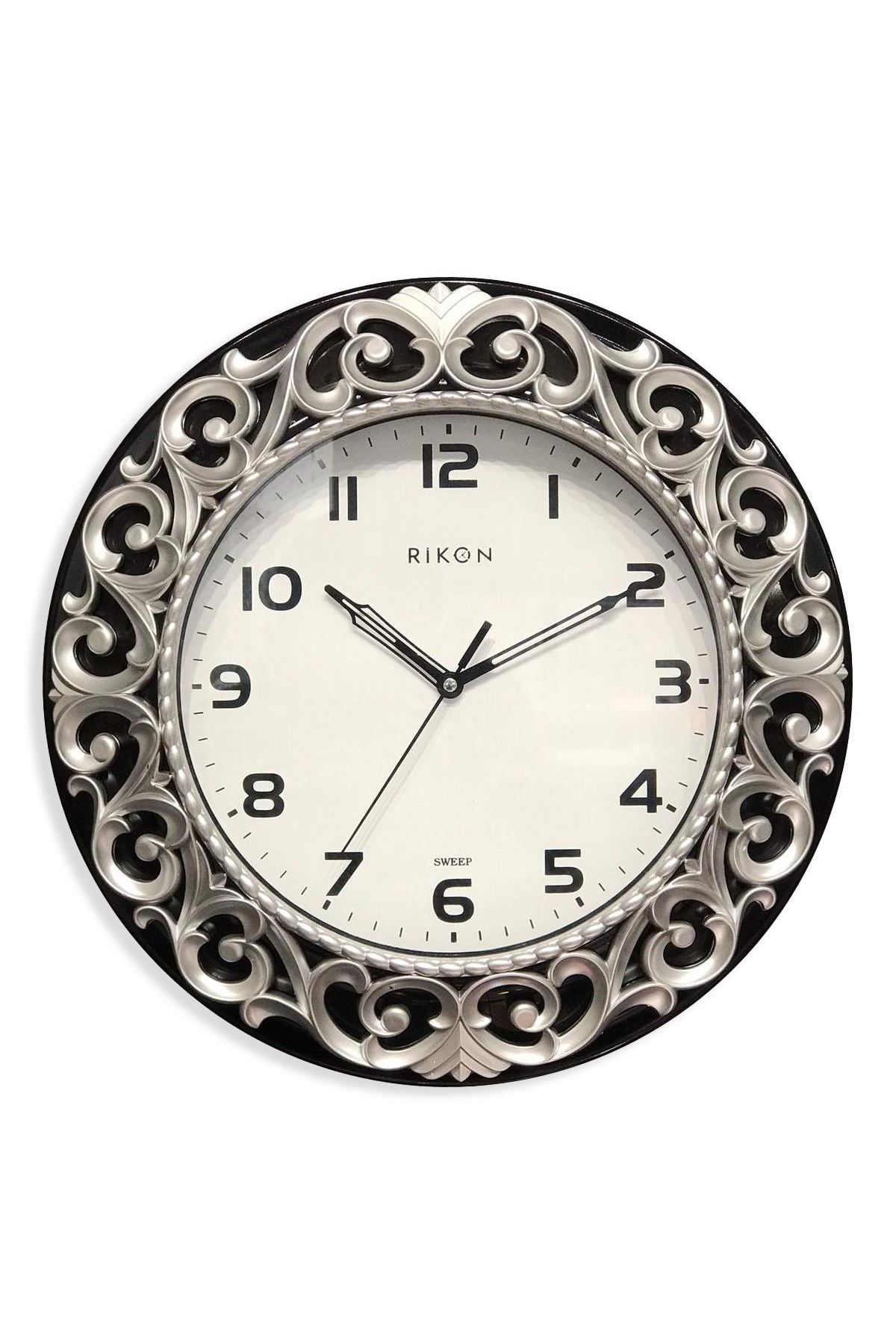 Rikon Dekoratif Desenli Duvar Saati Silver Black 33X33 Cm