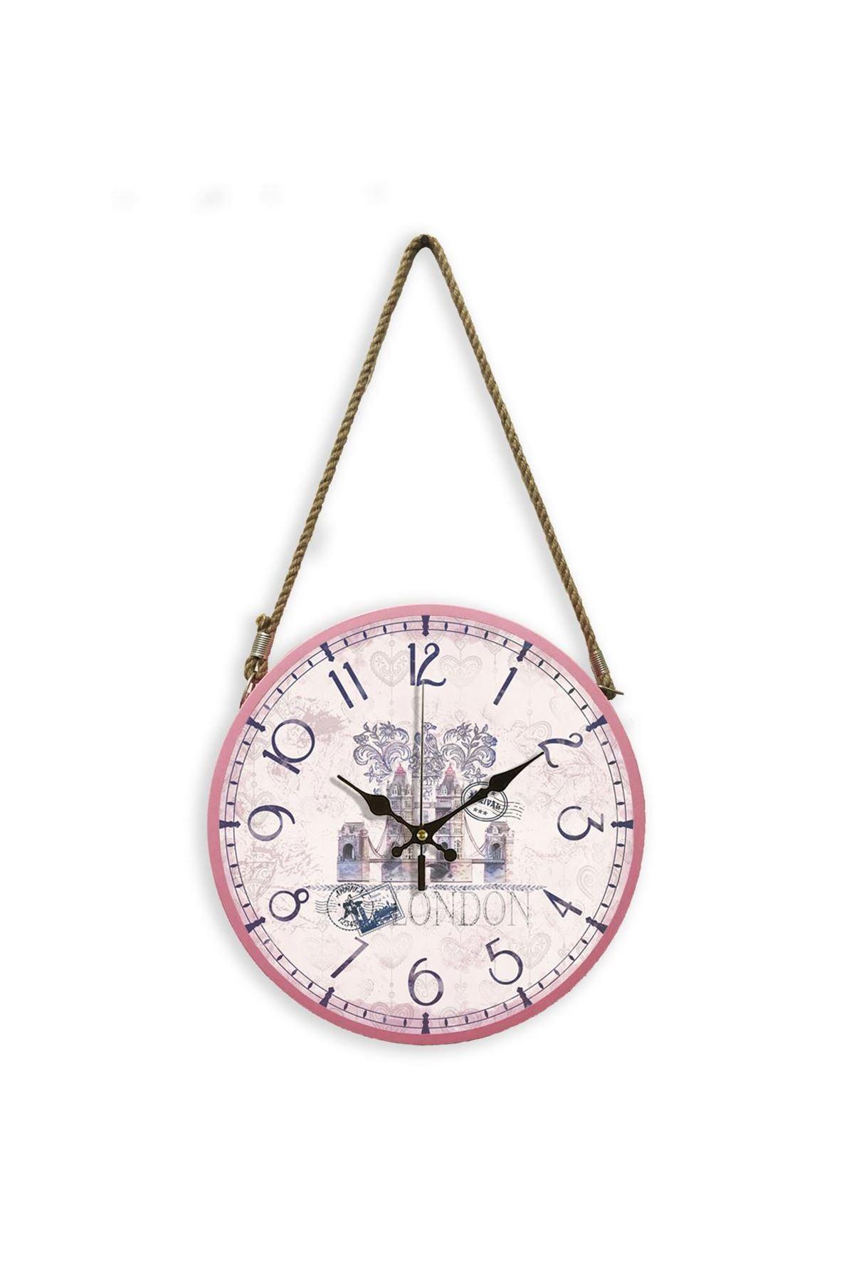 Rikon Halatlı Dekoratif Duvar Saati Pink London 60X31 Cm