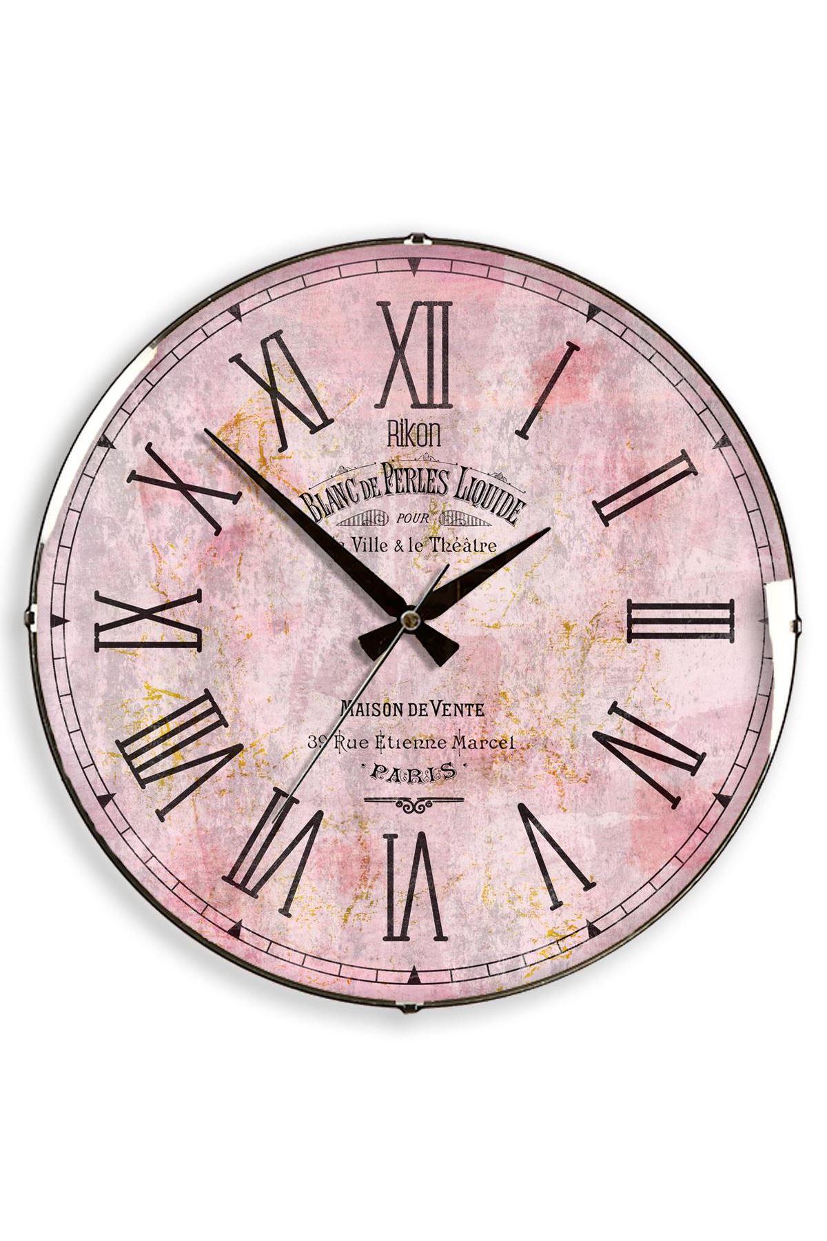 Rikon Pink Roma Dekoratif Bombe Camlı Duvar Saati 35X35 Cm