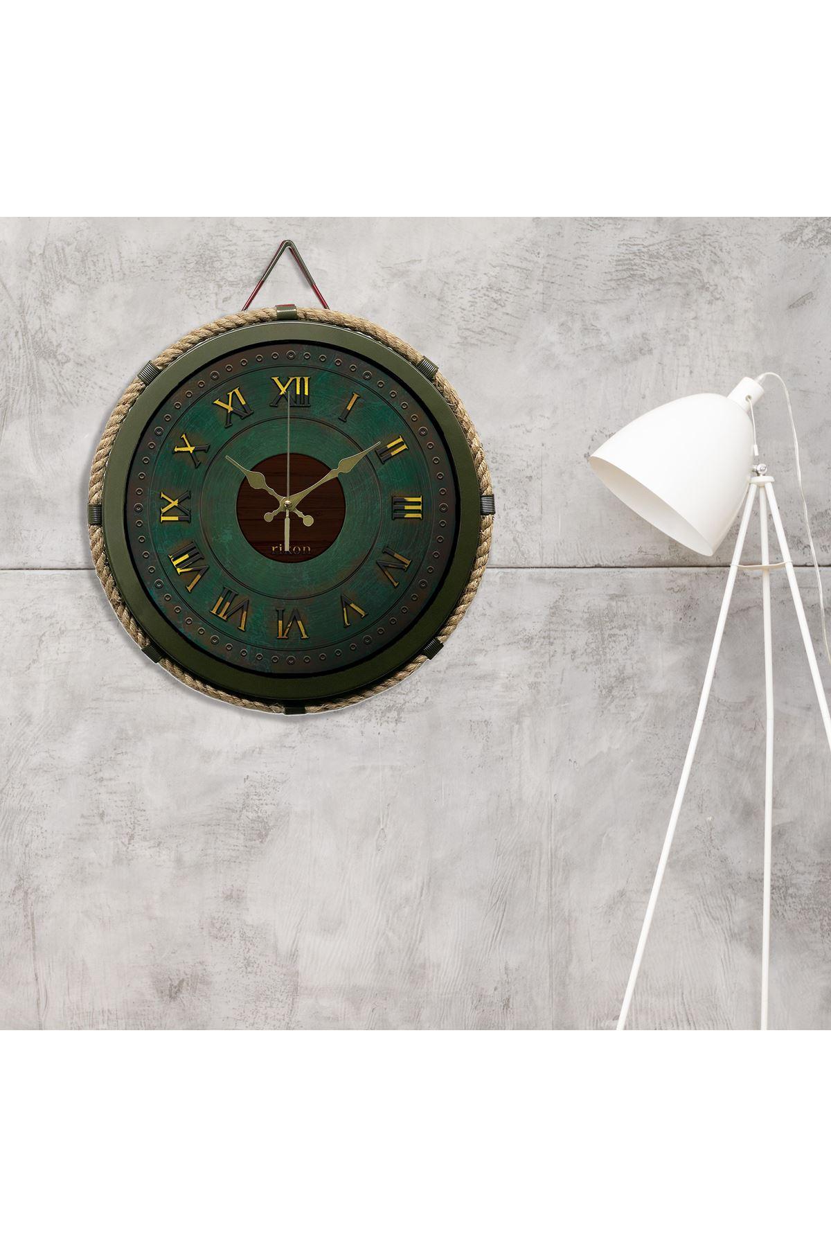 Rikon Büyük Metal Haki Halatlı Denizci Saati 35X35 Cm