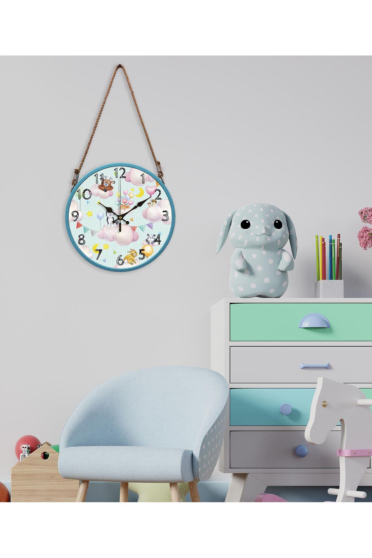 Rikon Halatlı Çocuk Odası Dekoratif Duvar Saati Cute Animals