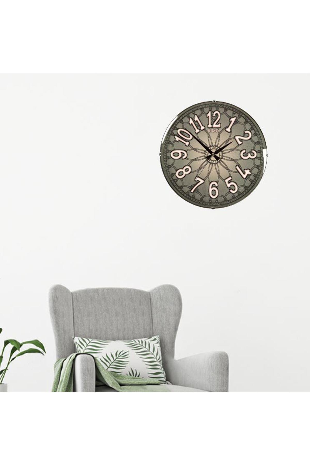 Rikon Dekoratif Bombe Camlı Duvar Saati Vintage Eskitme 35X35 Cm