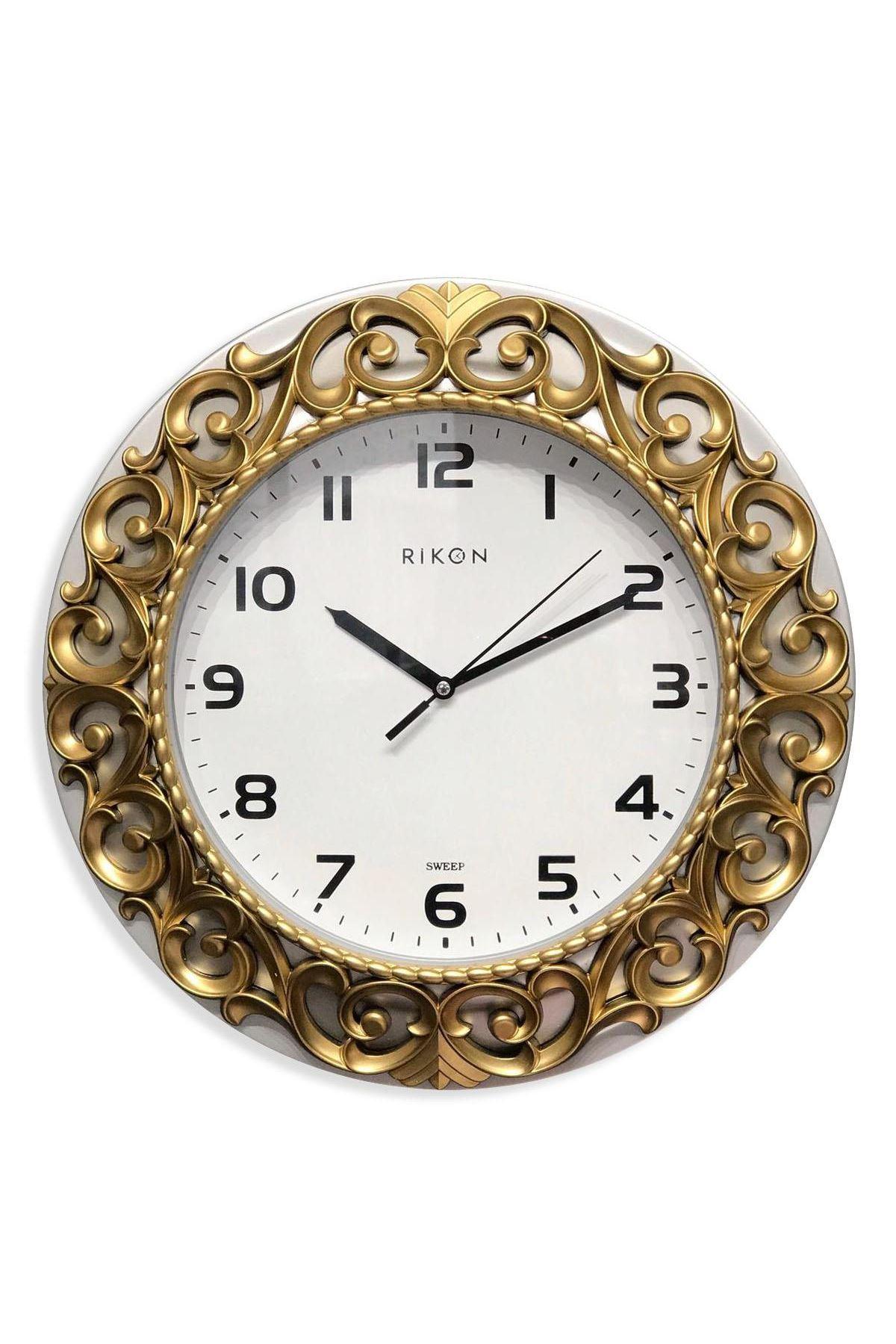 Rikon Dekoratif Desenli Duvar Saati Silver Gold 33X33 Cm