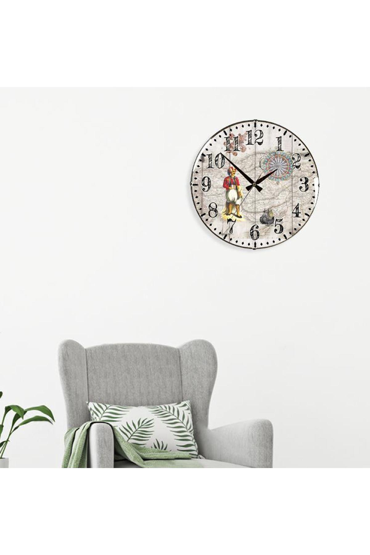 Rikon Dekoratif Bombe Camlı Duvar Saati Büyük Osmanlı 35X35 Cm