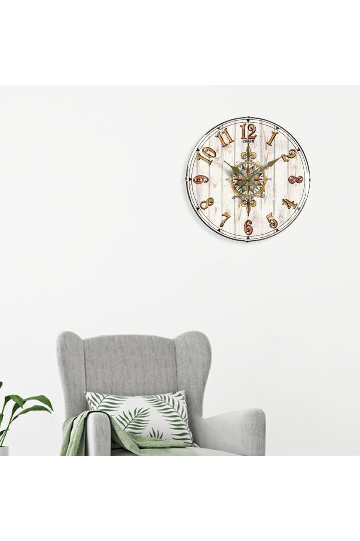 Rikon Dekoratif Bombe Camlı Duvar Saati Pusula 35X35 Cm