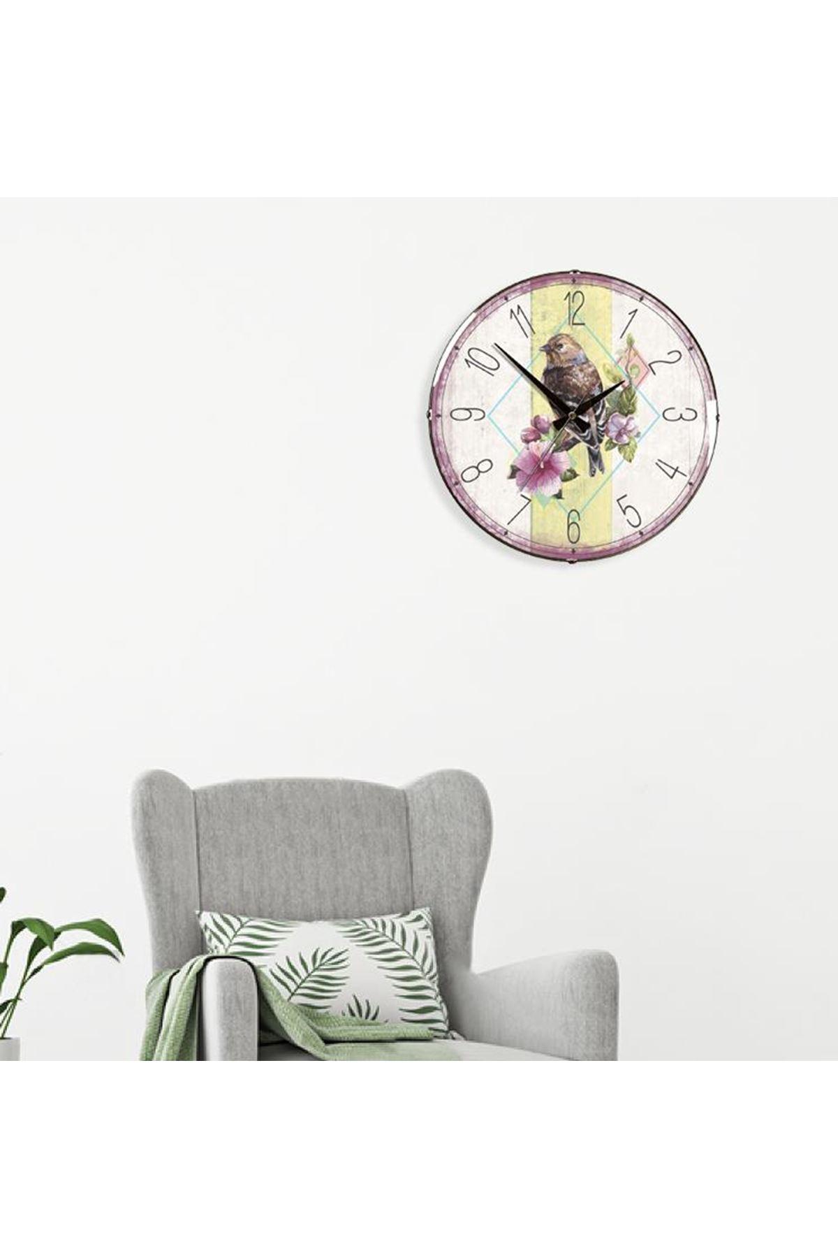 Rikon Dekoratif Bombe Camlı Duvar Saati Birds 35X35 Cm