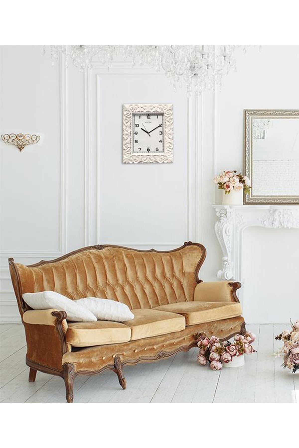 Rikon Dekoratif Desenli Çatlak BeyazDuvar Saati 33X33 Cm