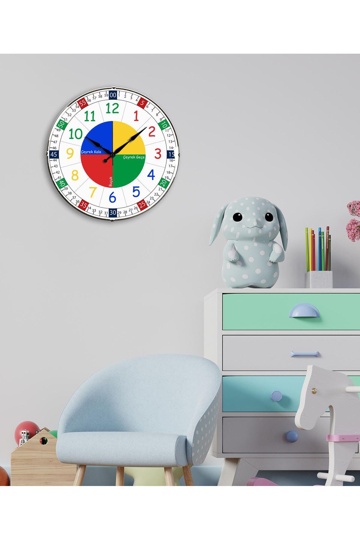 Rikon Çocuk Odası Dekoratif Bombe Camlı Eğitici Duvar Saati 35 Cm