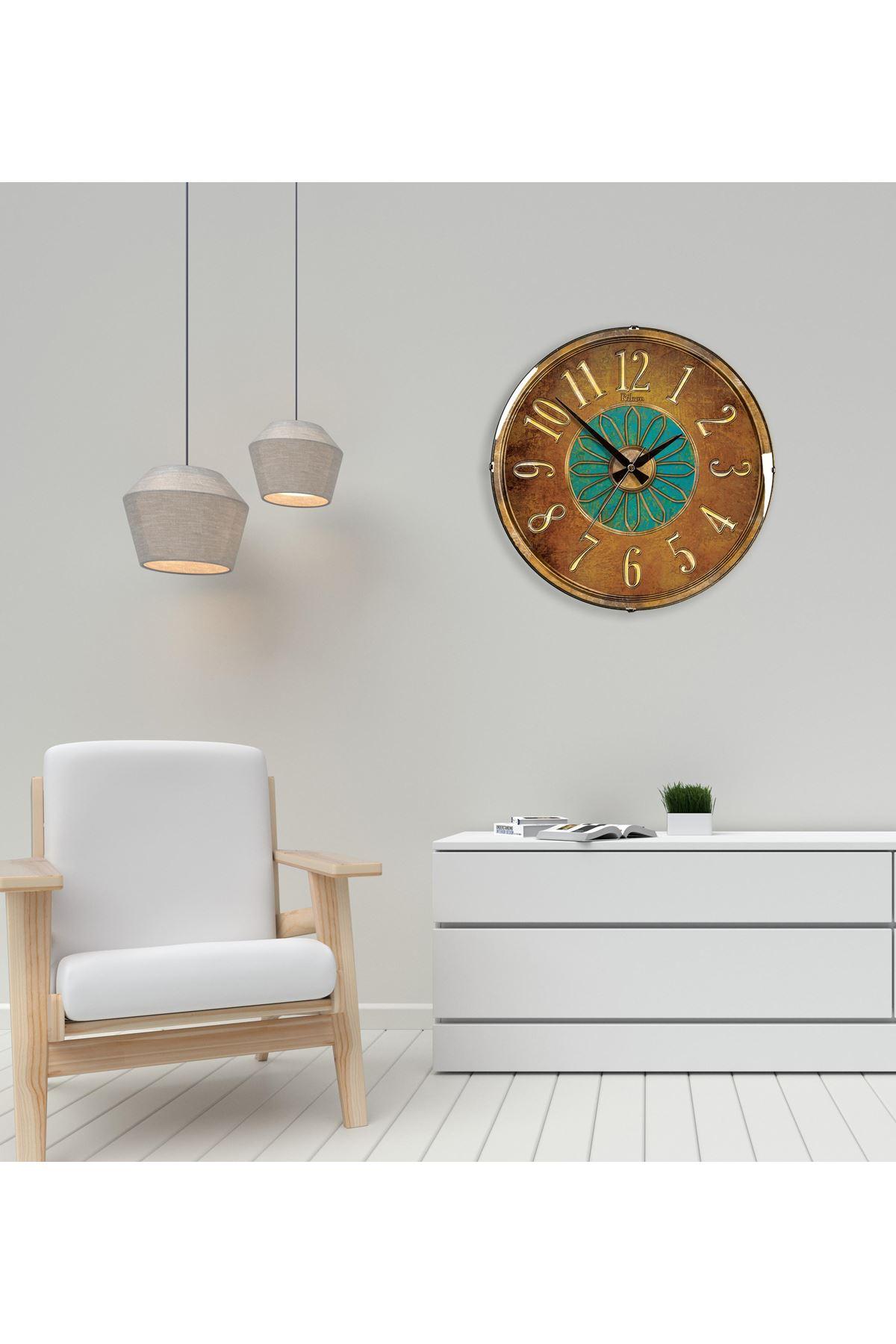 Rikon Kahve Ton Dekoratif Bombe Camlı Duvar Saati 35X35 Cm