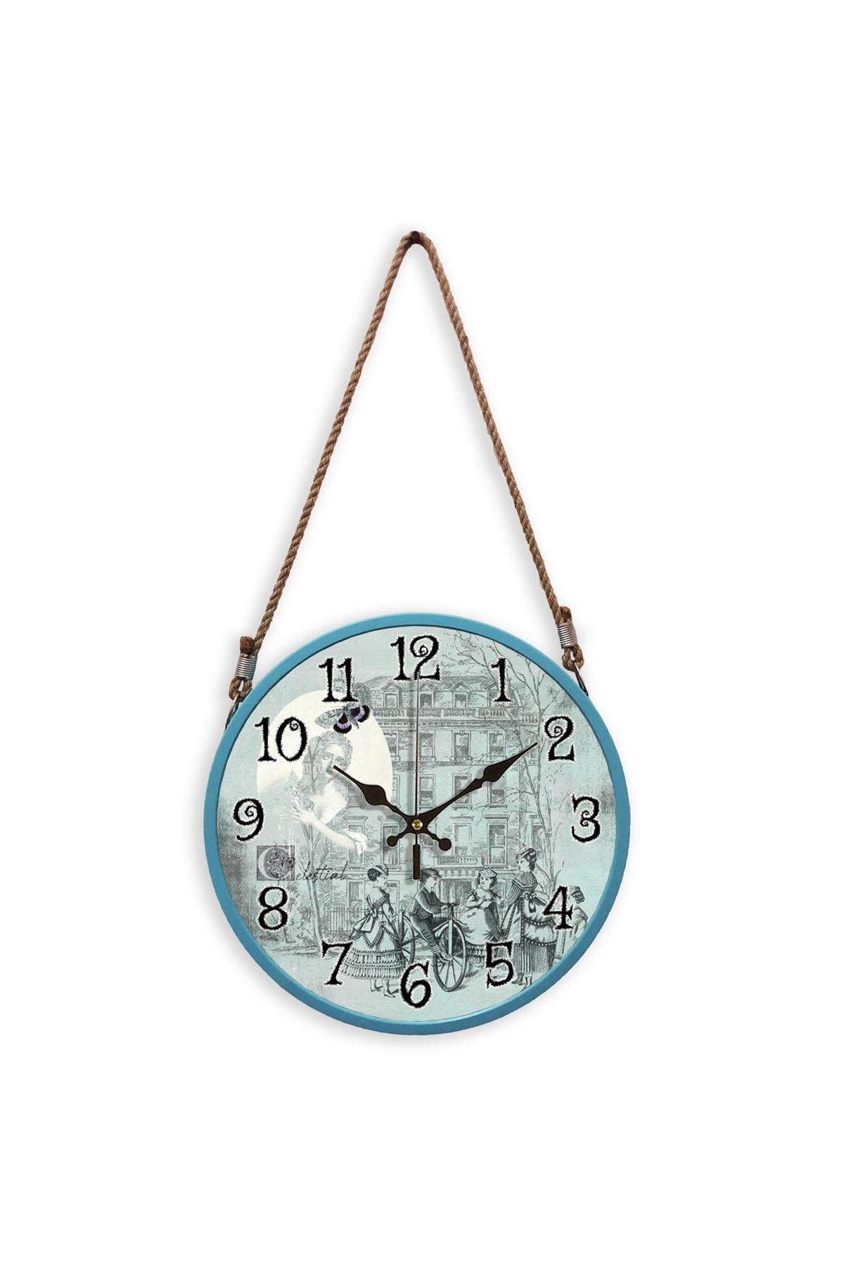 Rikon Halatlı Dekoratif Duvar Saati Blue Women 60X31 Cm