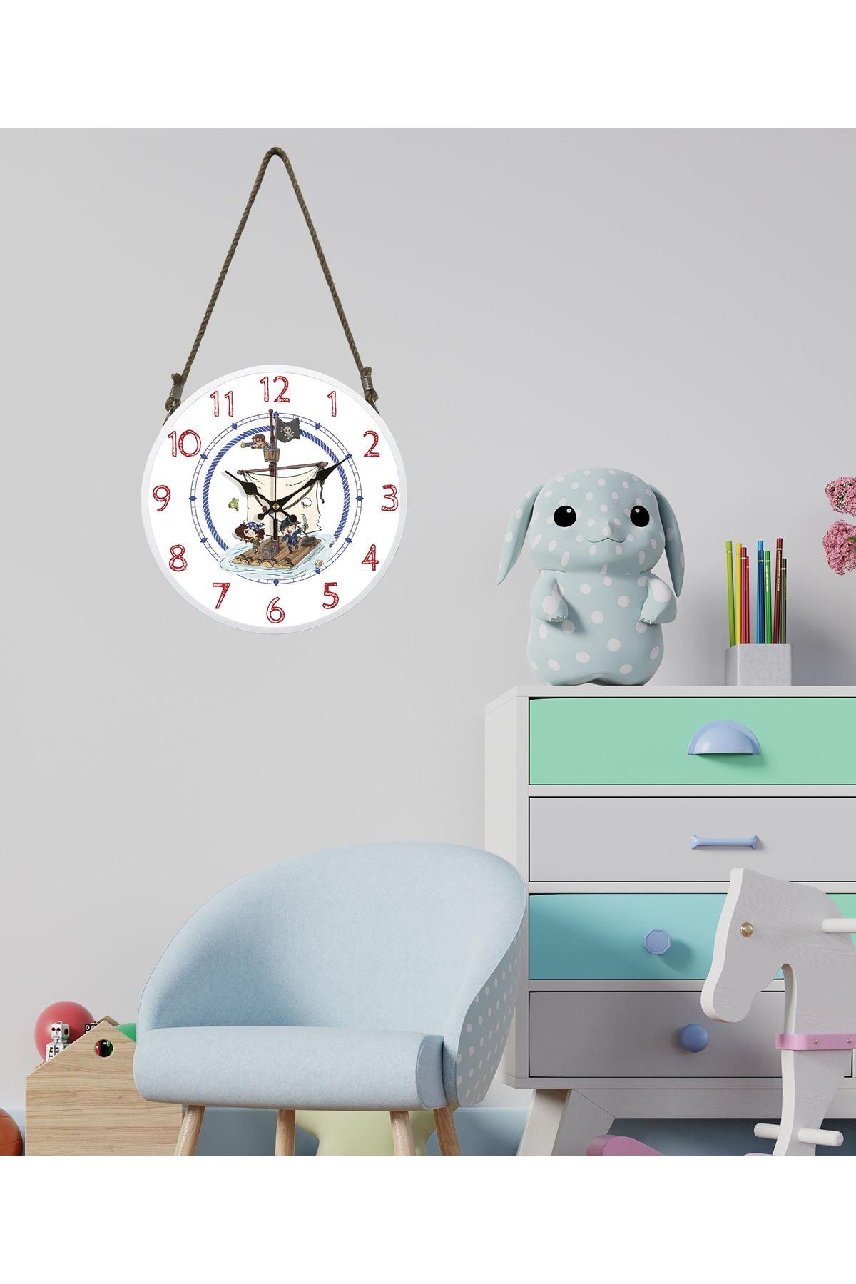 Rikon Halatlı Çocuk Odası Dekoratif Duvar Saati Korsanlar 60x30Cm