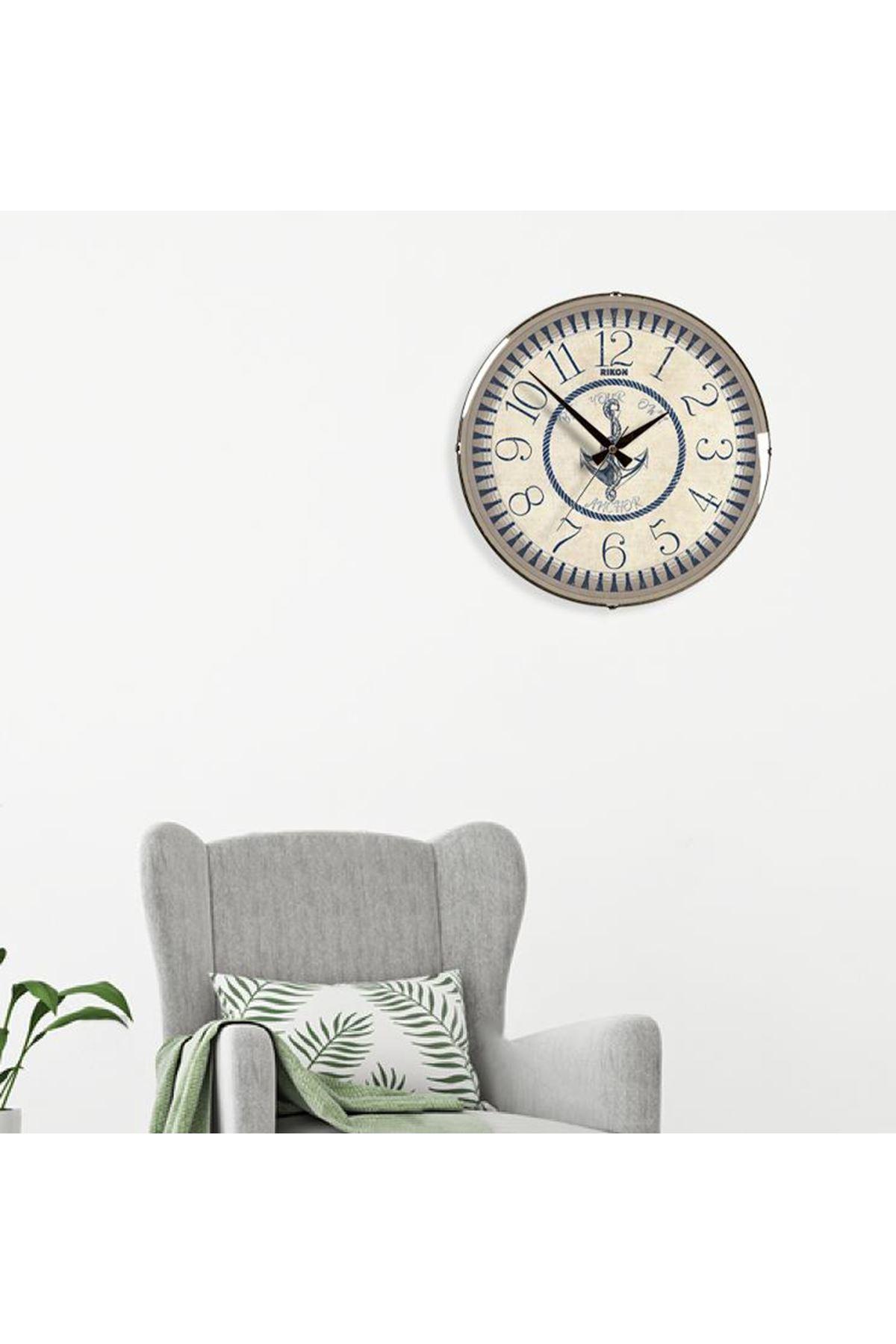 Rikon Anchor Deniz Çapası Dekoratif Bombe Camlı Duvar Saati  35Cm