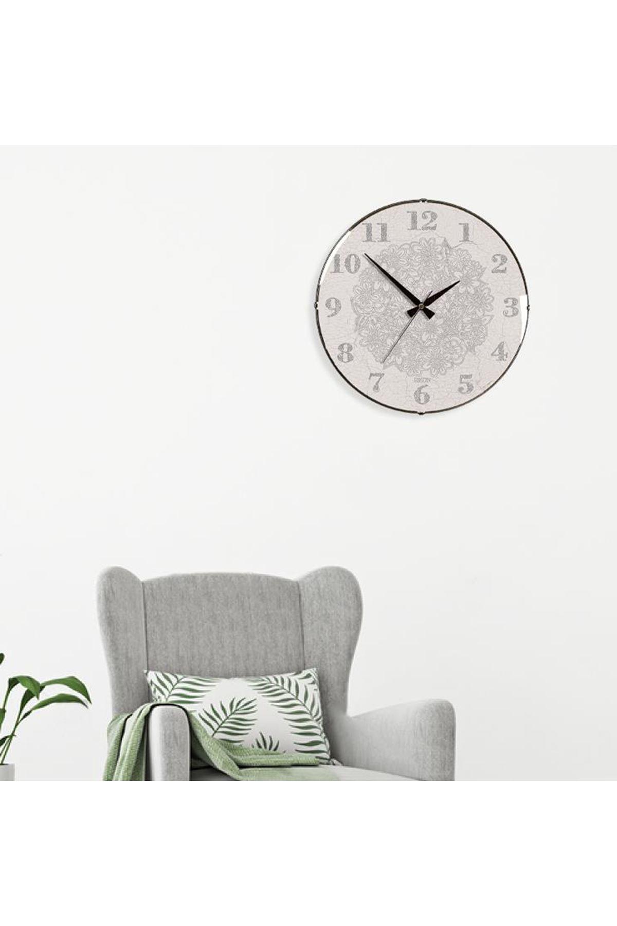 Rikon Dekoratif Bombe Camlı Duvar Saati Çatlak Bej 35X35 Cm