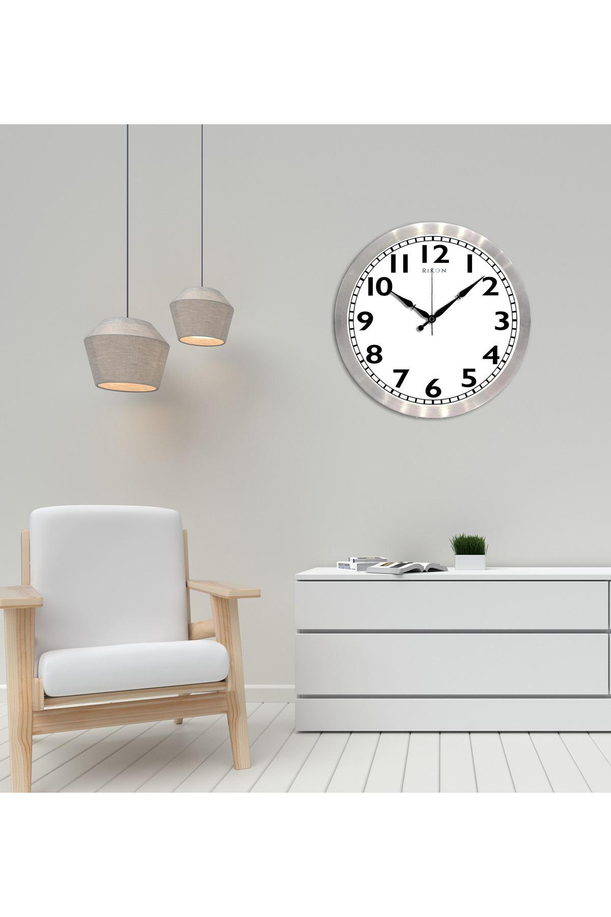 Rikon Metal Dekoratif Ofis Duvar Saati Kalın Rakamlı 30X30 Cm