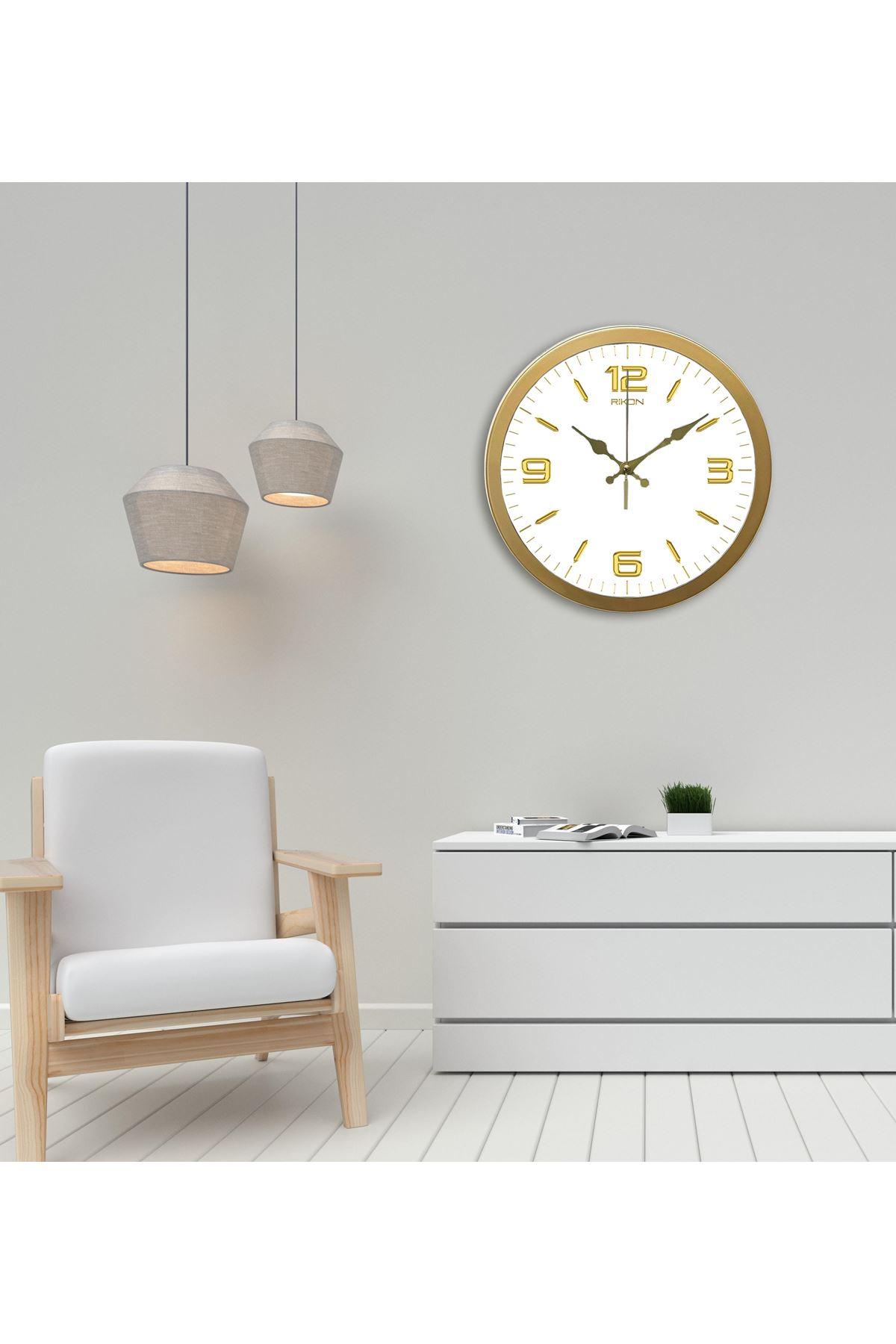 Rikon Metal Dekoratif Ofis Duvar Saati Klasik Gold White 35X35 Cm