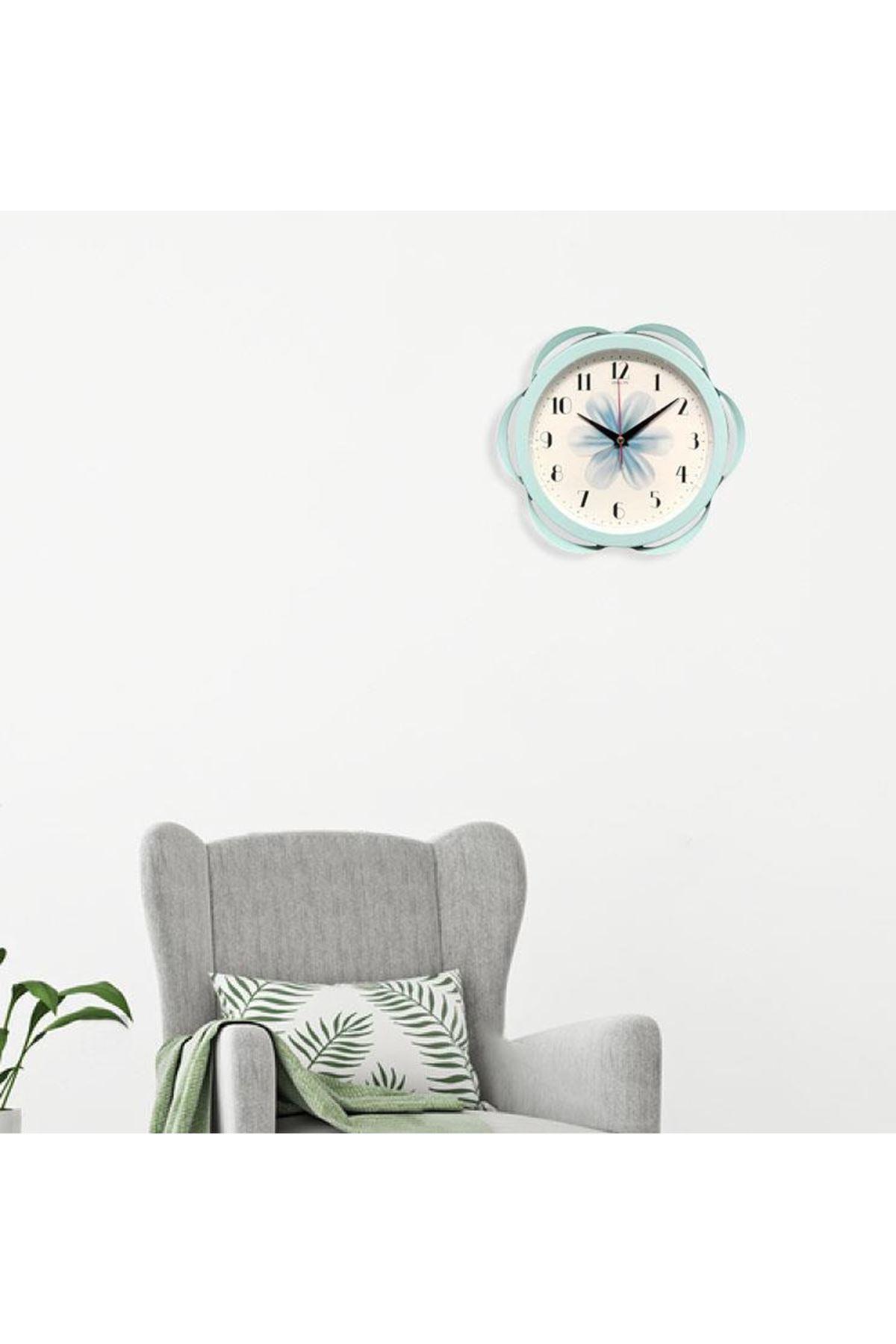 Rikon Metal Dekoratif Çiçek Desenli Duvar Saati Su Yeşili 30X30 Cm