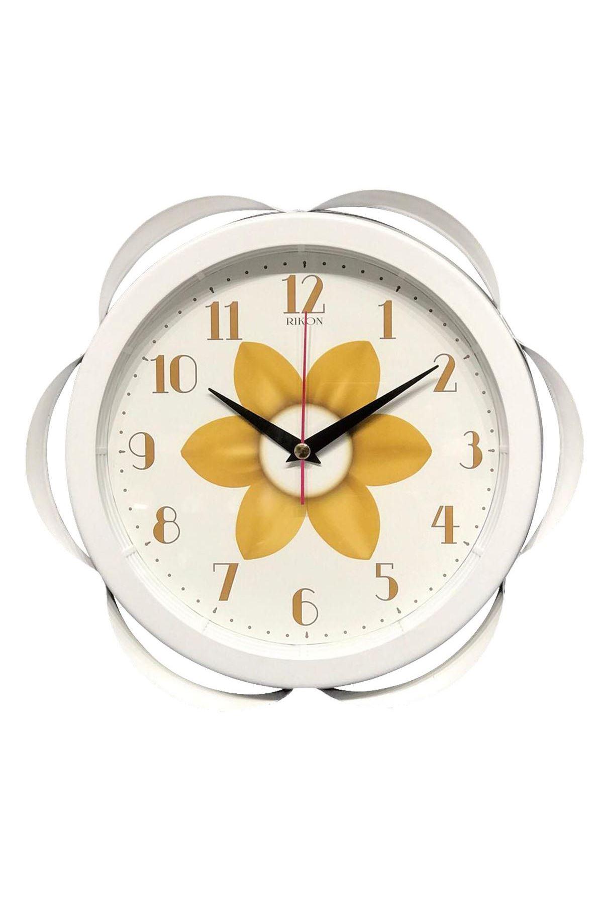 Rikon Metal Dekoratif Çiçek Desenli Duvar Saati Sarı 30X30 Cm
