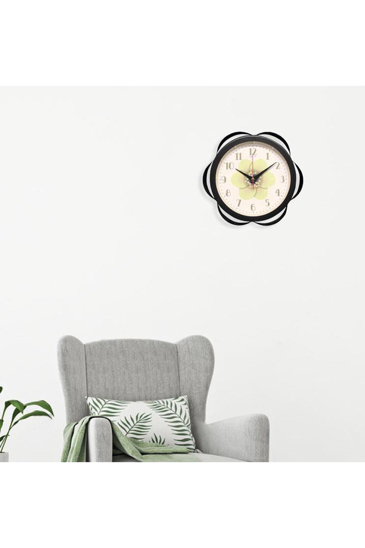 Rikon Metal Dekoratif Çiçek Desenli Duvar Saati Black 30X30 Cm