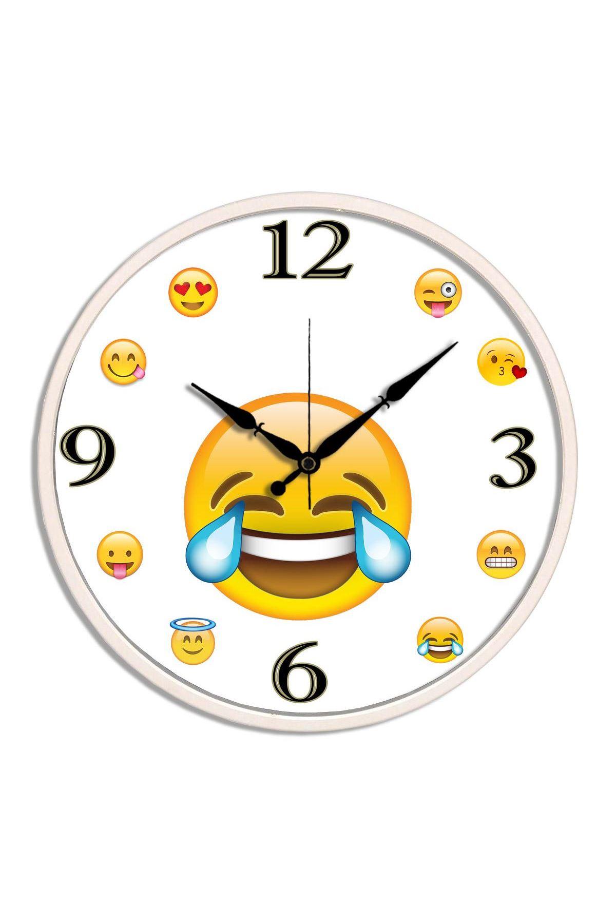 Rikon Dekoratif Gülen Emoji Duvar Saati 30X30 Cm
