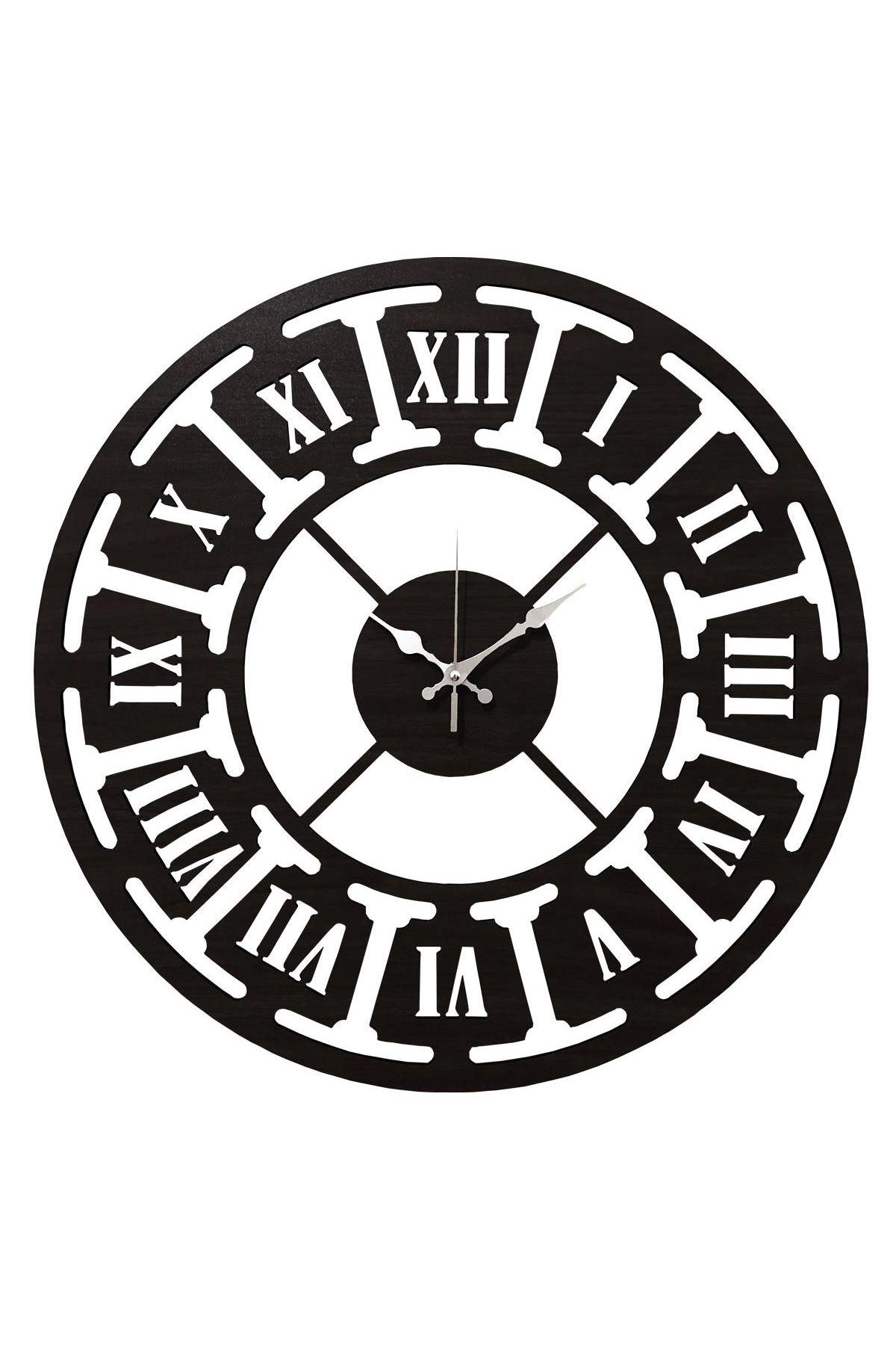 Rikon Ahşap Roma Rakamlı Dekorati Duvar Saati Black Çark 35X35 Cm