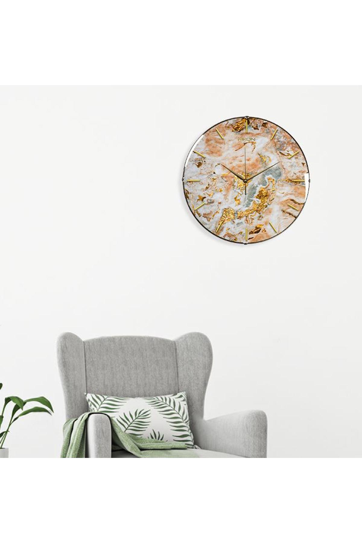 Rikon Dekoratif Bombe Camlı Duvar Saati Yaldız Mermer Desenli 35Cm