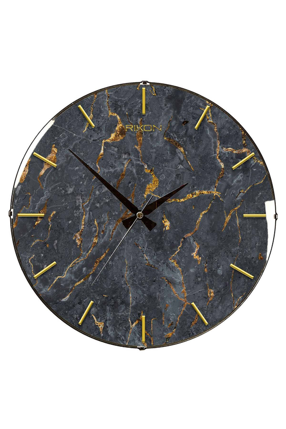 Rikon Altın Çatlak Mermer Desenli Bombe Camlı Duvar Saati  35Cm