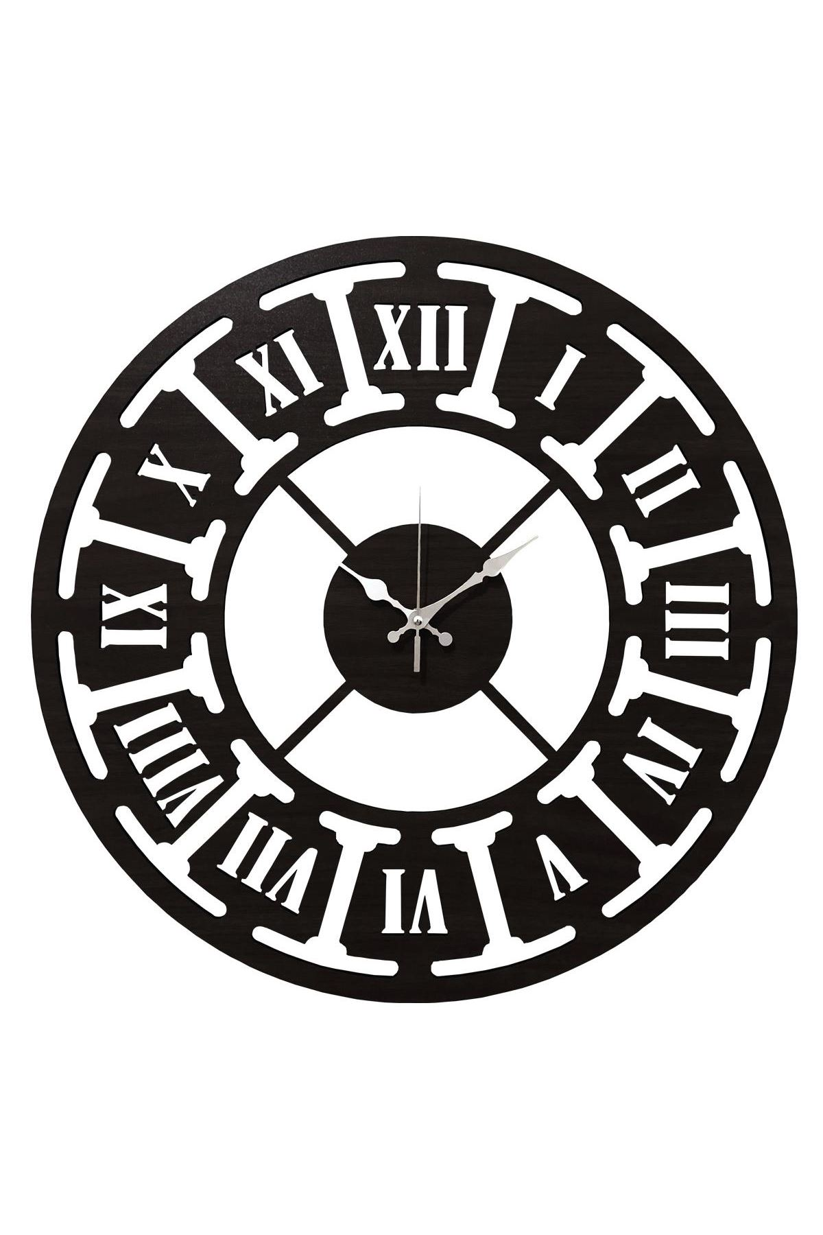 Rikon Ahşap Roma Rakamlı Dekorati Duvar Saati Black Çark 50X50 Cm