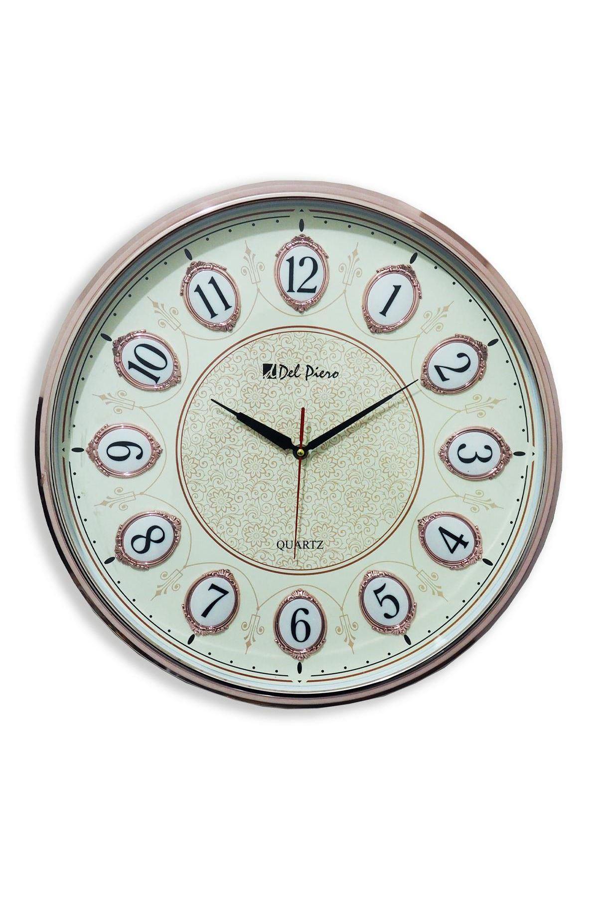 Del Piero Pembe Yaldızlı Yuvarlak Dekoratif Duvar Saati
