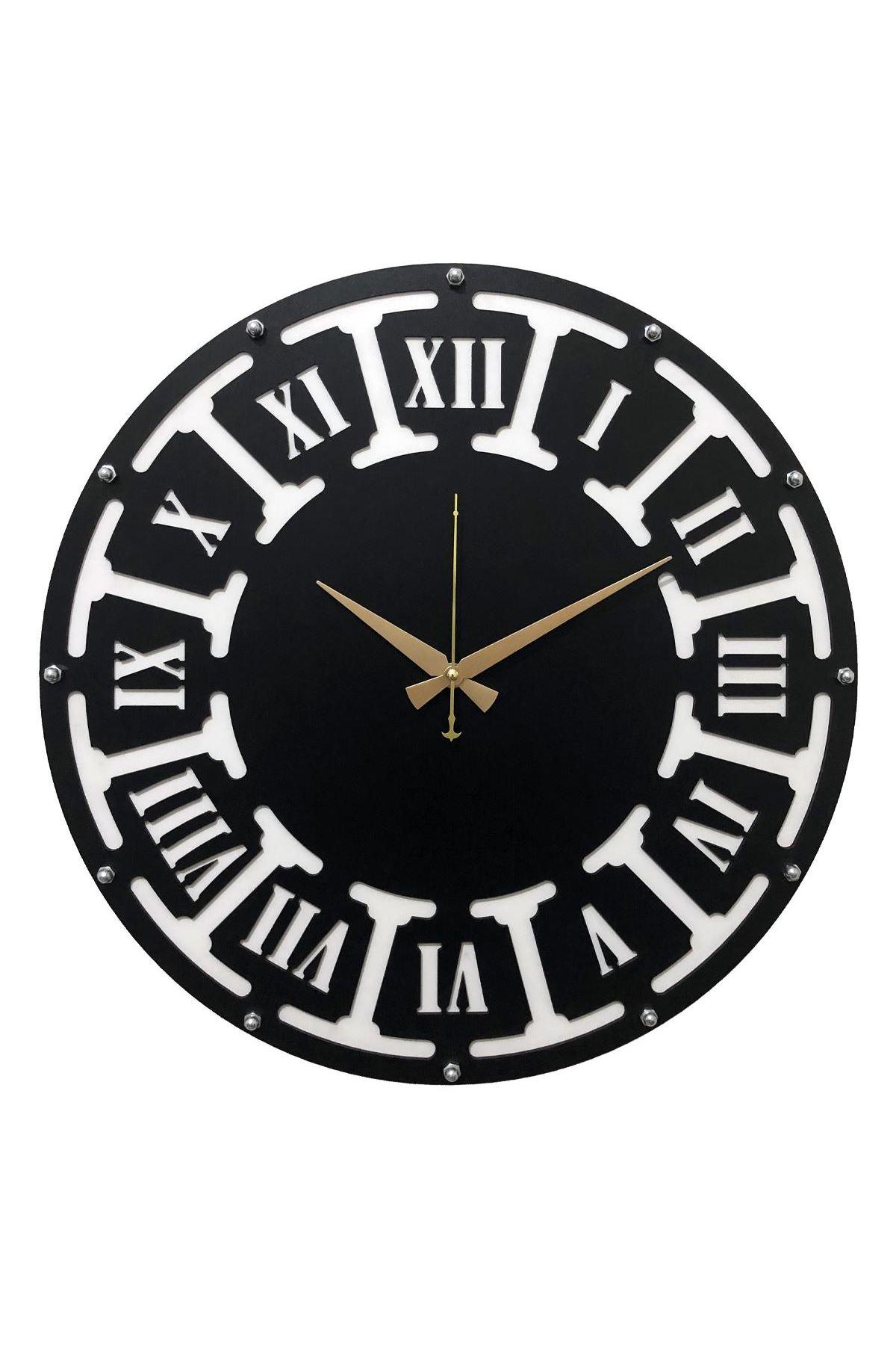 Rikon Ahşap Roma Rakamlı Black Dekorati Duvar Saati  35X35 Cm