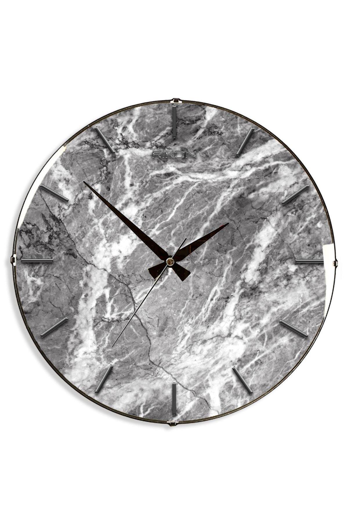 Rikon Dekoratif Eskitme Mermer Desenli Bombe Camlı Duvar Saati  35Cm
