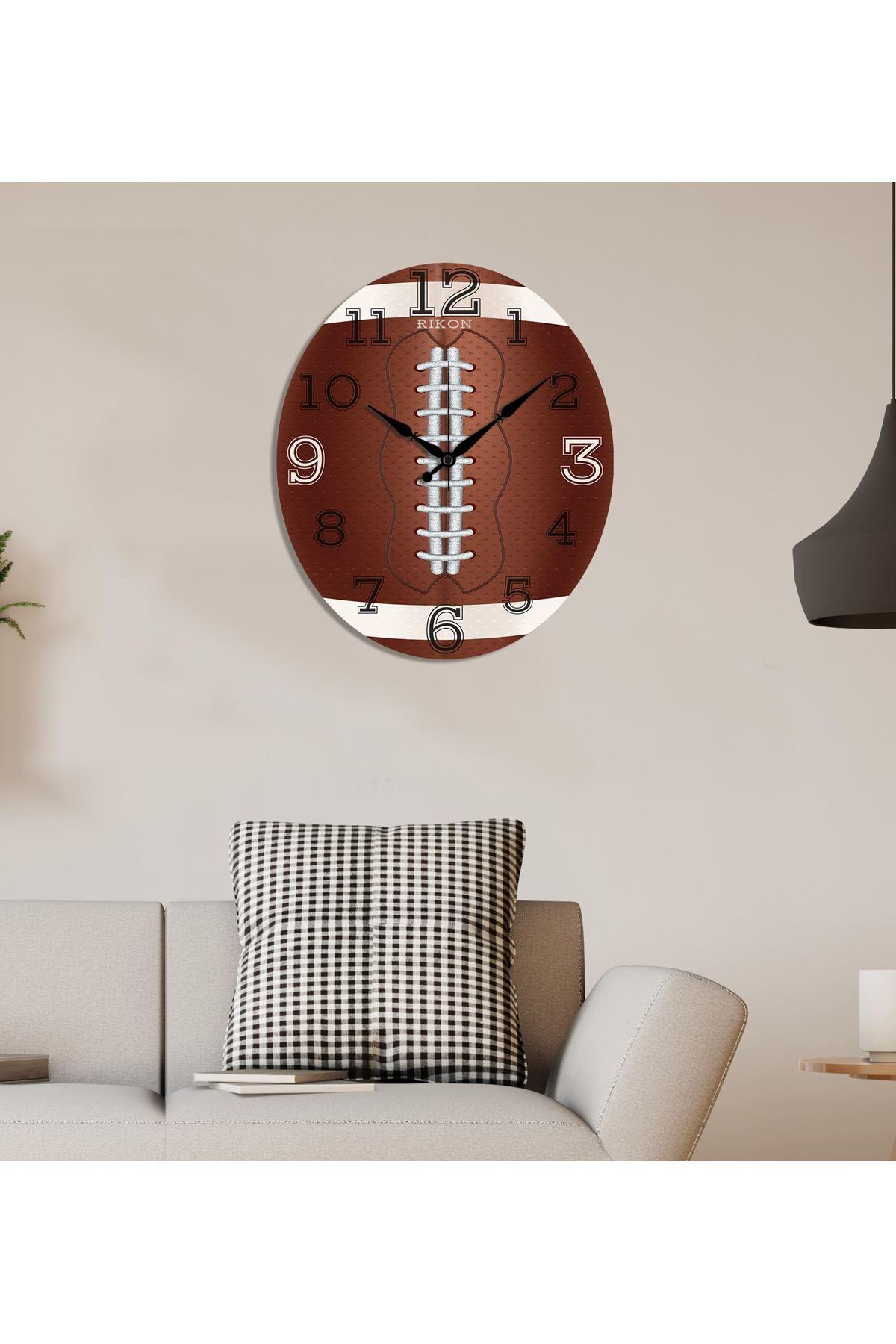 Rikon Mdf Amerikan Futbool Topu Dekoratif Duvar Saati 40X34 Cm