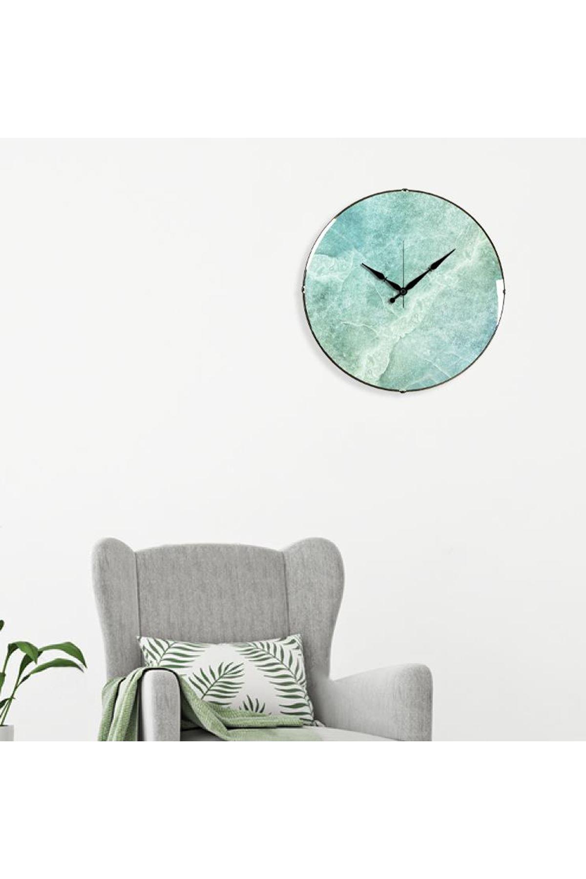 Rikon Düz Yeşil Çatlak Mermer Desenli Bombe Camlı Duvar Saati 35Cm