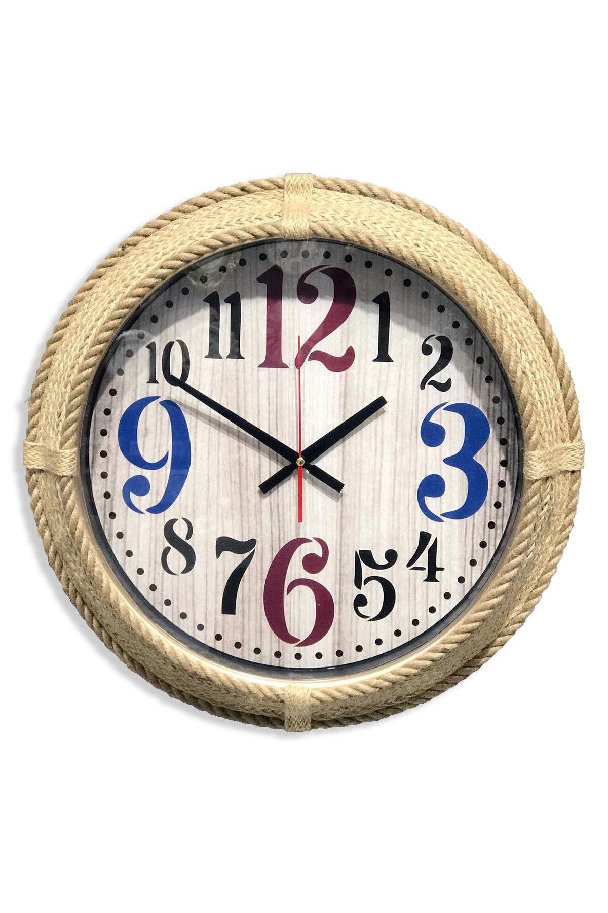 Rikon Dekoratif Halatlı Eskitme Duvar Saati Renkli