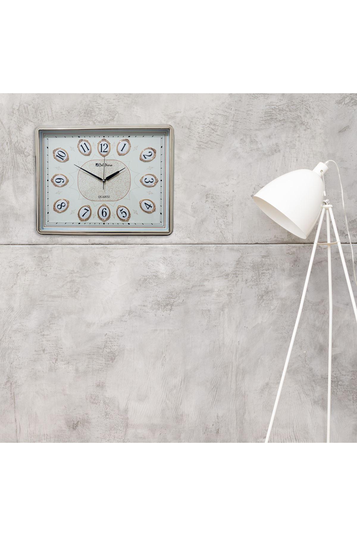 RİKON Del Piero Altın Yaldızlı Kare Dekoratif Duvar Saati