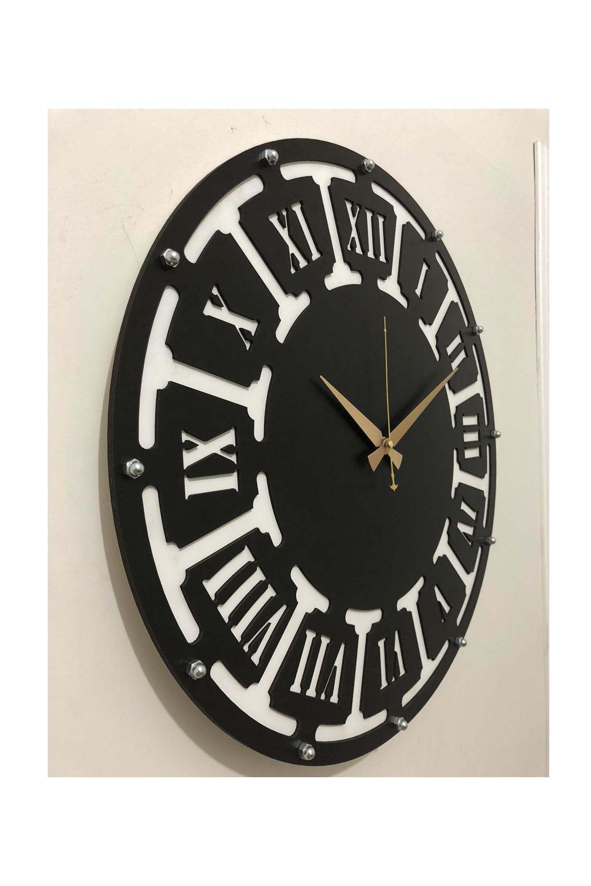 Rikon Ahşap Roma Rakamlı Black Dekorati Duvar Saati  50X50 Cm