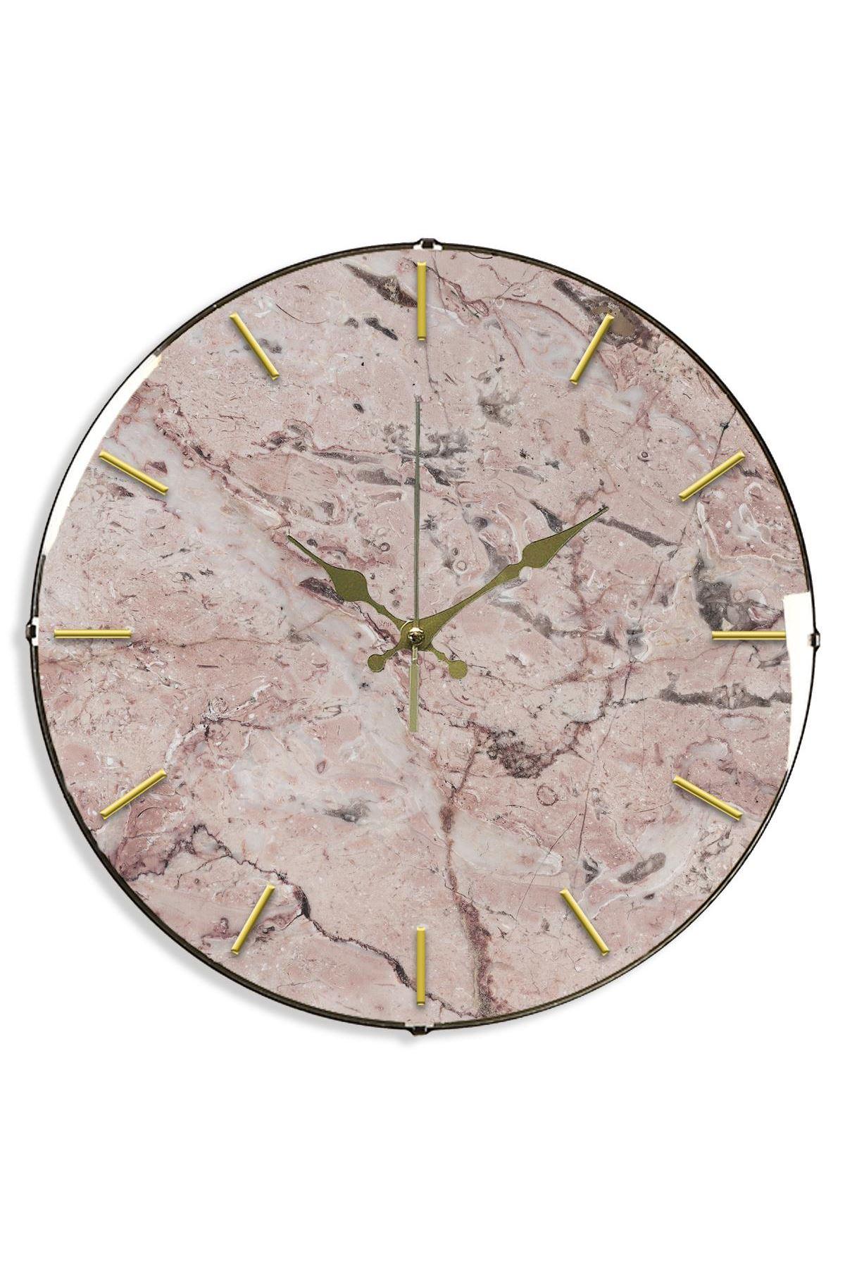 Rikon Pink Çatlak Mermer Desenli Bombe Camlı Duvar Saati  35Cm