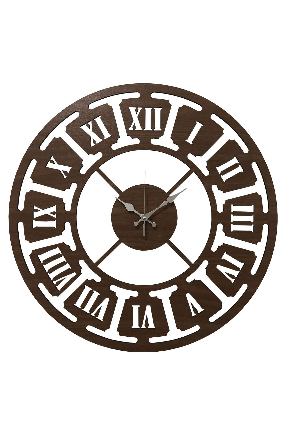 Rikon Ahşap Roma Rakamlı Dekorati Duvar Saati Kahve Çark 50X50 Cm