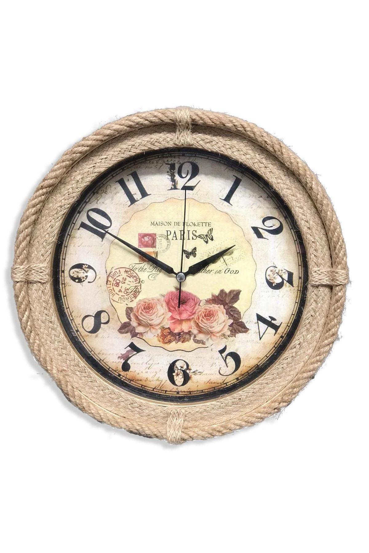 Rikon Dekoratif Halatlı Çiçekli Duvar Saati