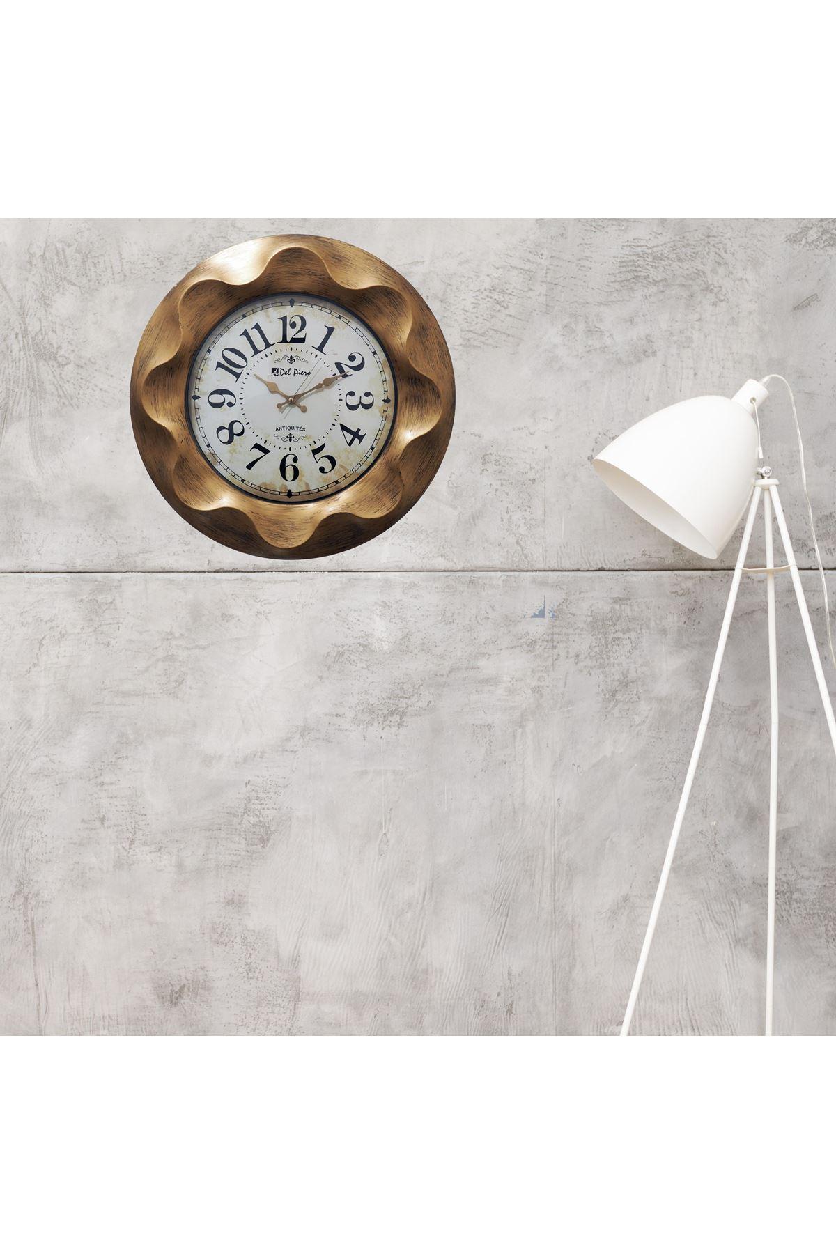 Rikon Del Piero Altın Eskitme Desenli dekoratif Duvar Saati