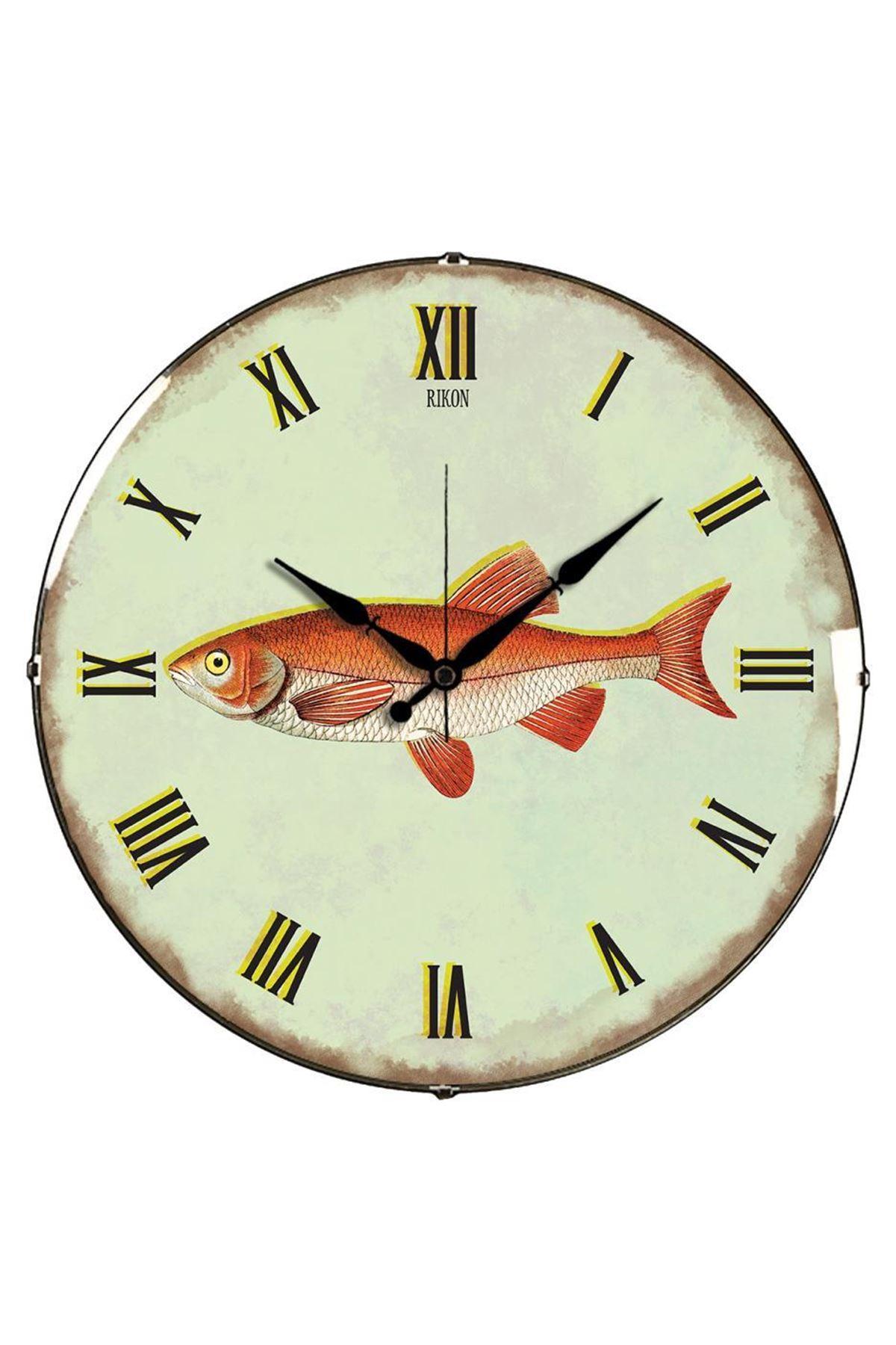 Rikon Balık Desenli Dekoratif Bombe Camlı Duvar Saati