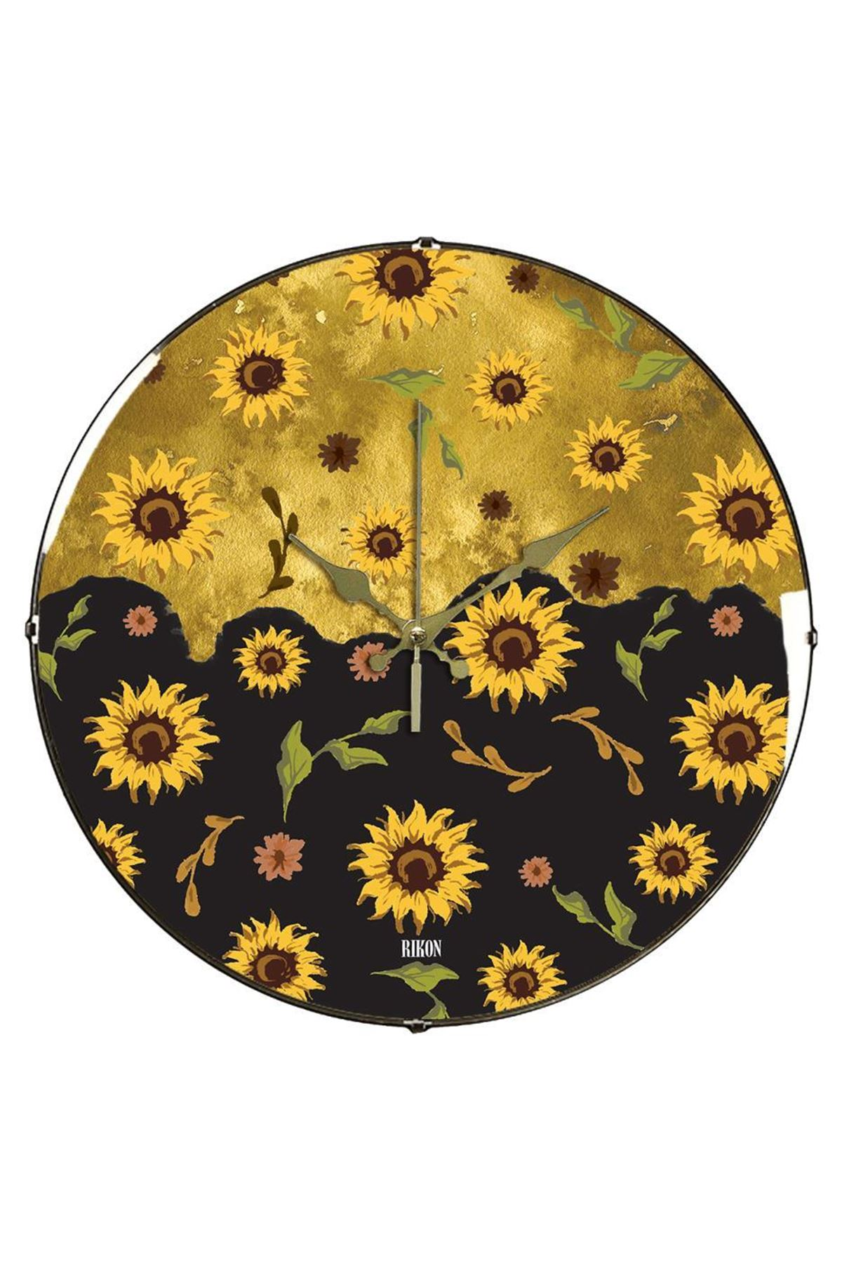 Rikon Sarı Çiçekler Dekoratif Bombe Camlı Duvar Saati