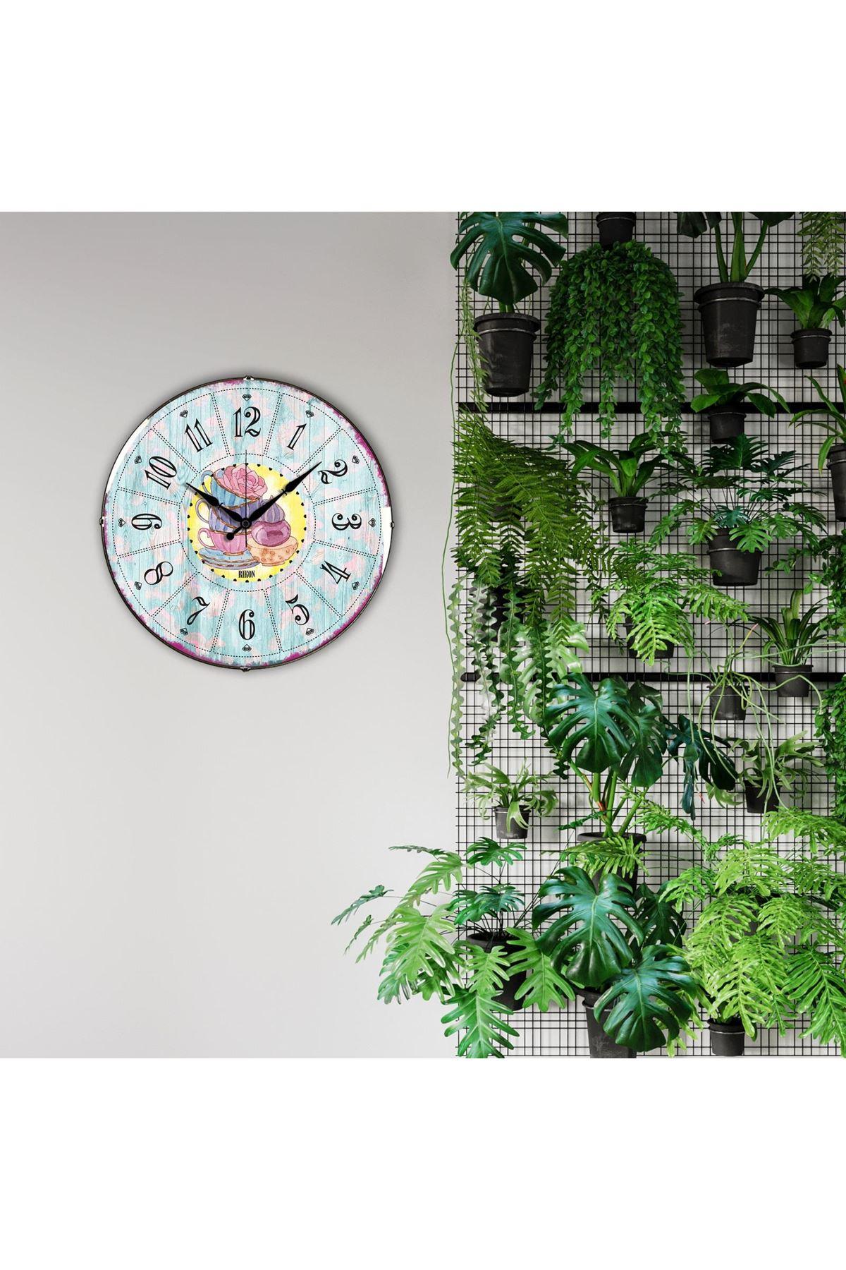 Rikon Renkli Fincanlar Dekoratif Bombe Camlı Duvar Saati