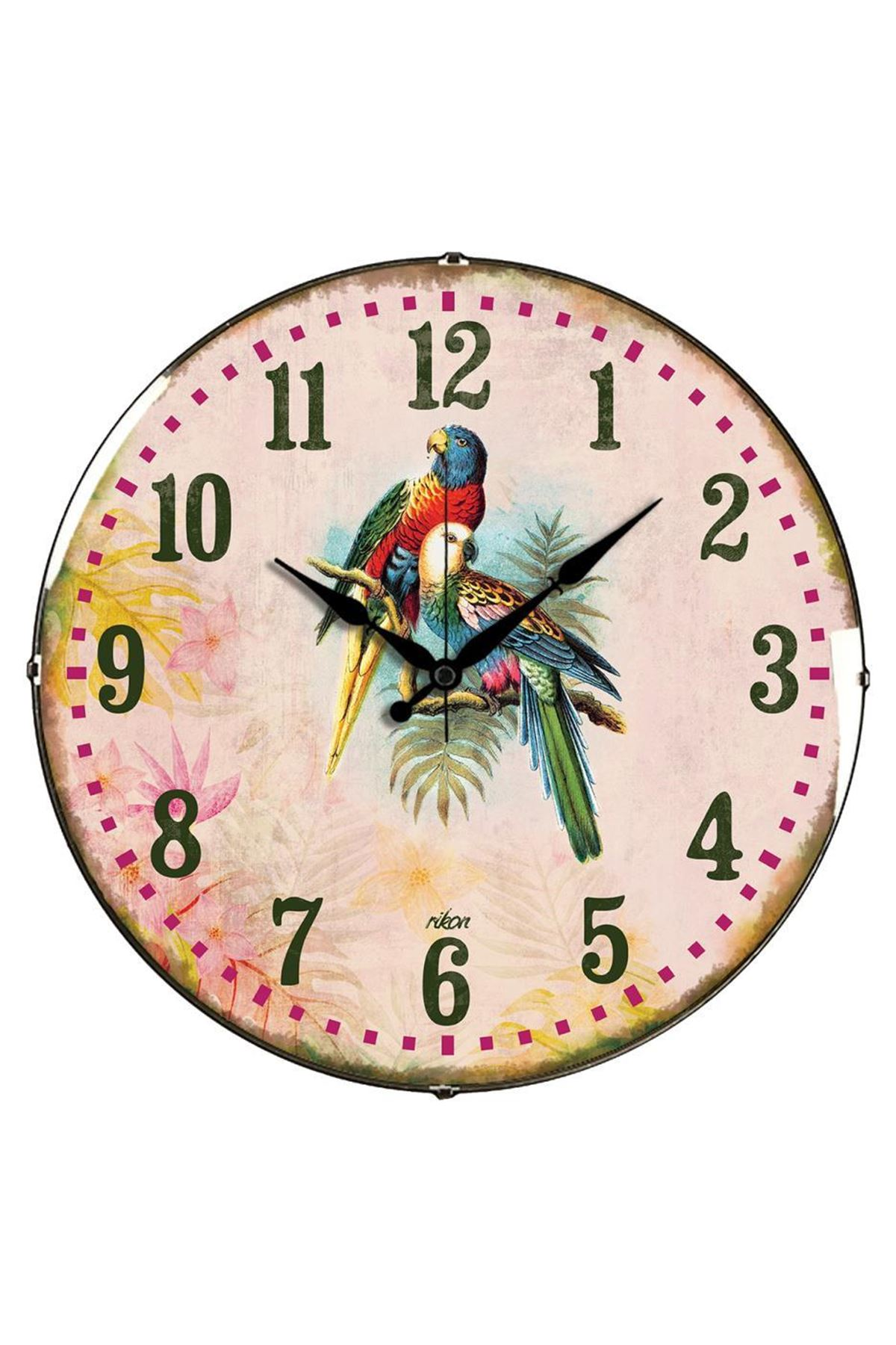 Rikon Renkli Papağanlar Dekoratif Bombe Camlı Duvar Saati