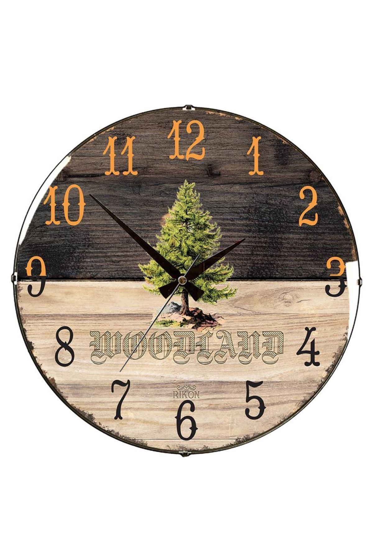 Rikon Çam Ağacı Desenli Dekoratif Bombe Camlı Duvar Saati