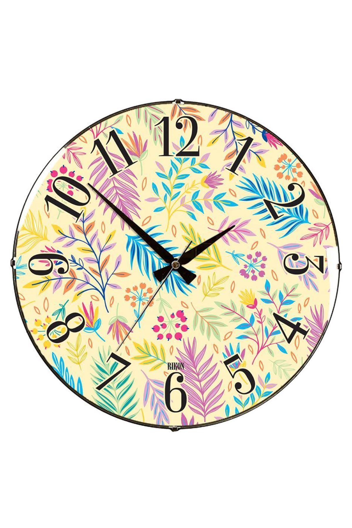 Rikon Renkli Çiçekler Dekoratif Bombe Camlı Duvar Saati