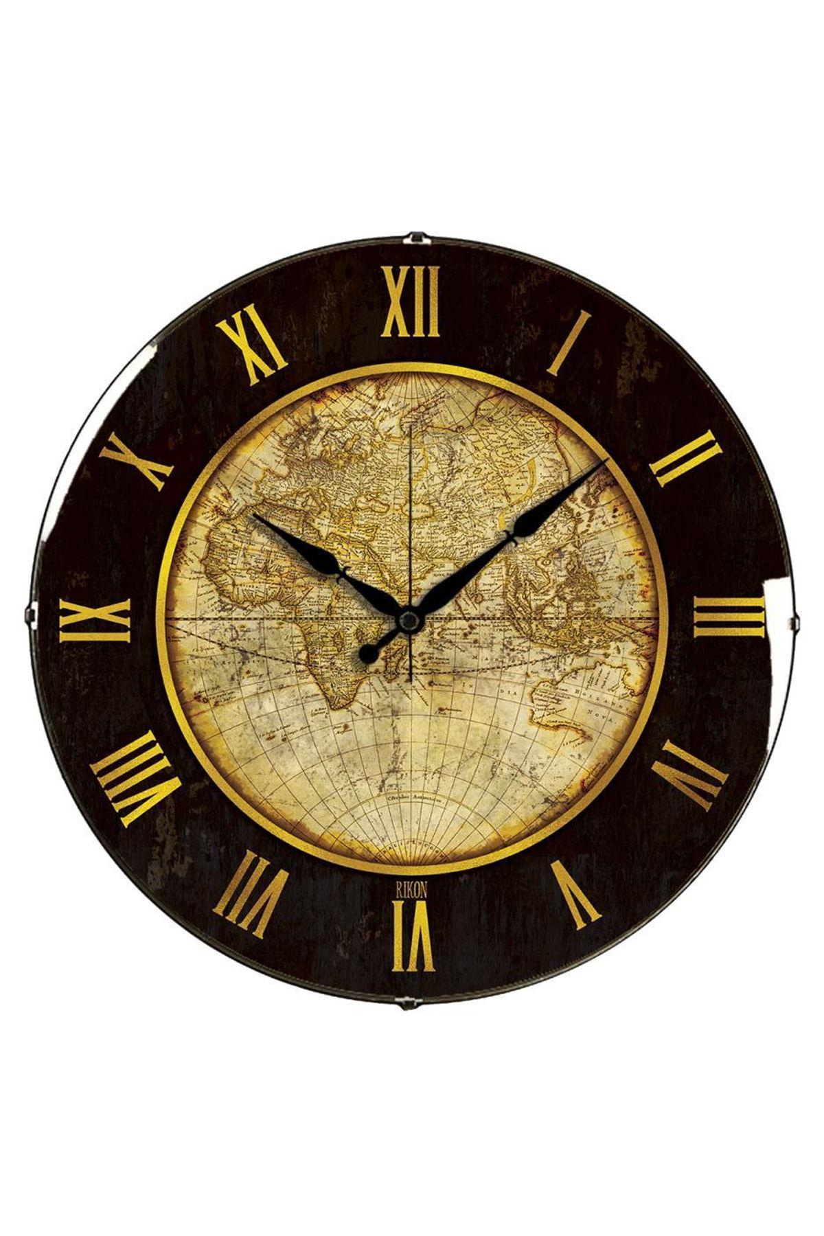 Rikon Dünya Dekoratif Bombe Camlı Duvar Saati